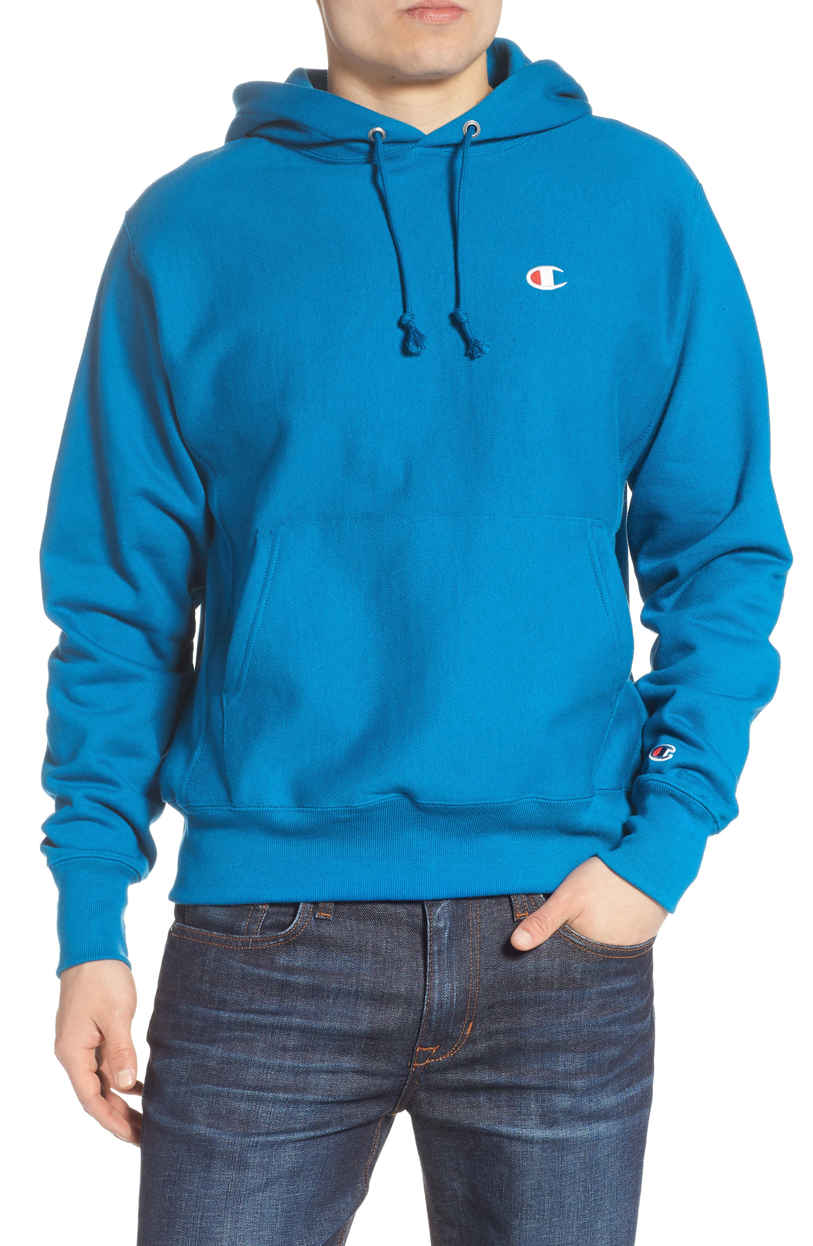 Reverse Weave<sup>®</sup> Pullover Hoodie,                             Main thumbnail 1, color,                             DEEP HOTLINE BLUE