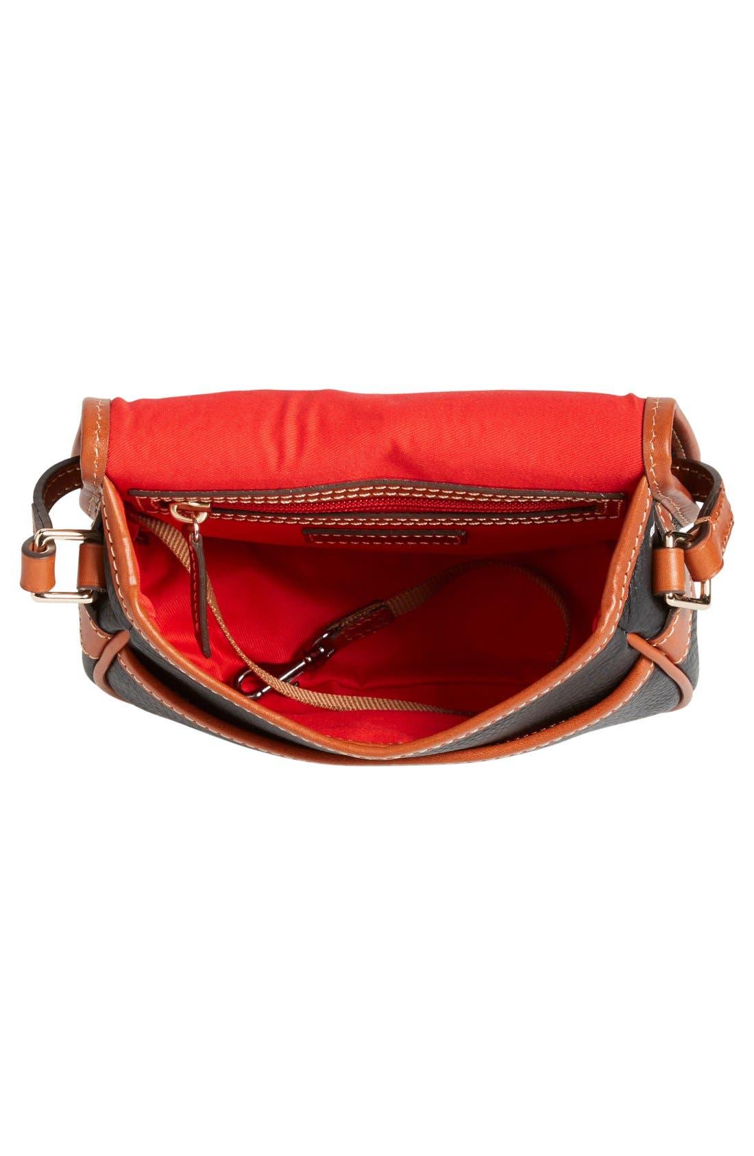 'Hallie' Leather Crossbody Bag,                             Alternate thumbnail 4, color,                             001
