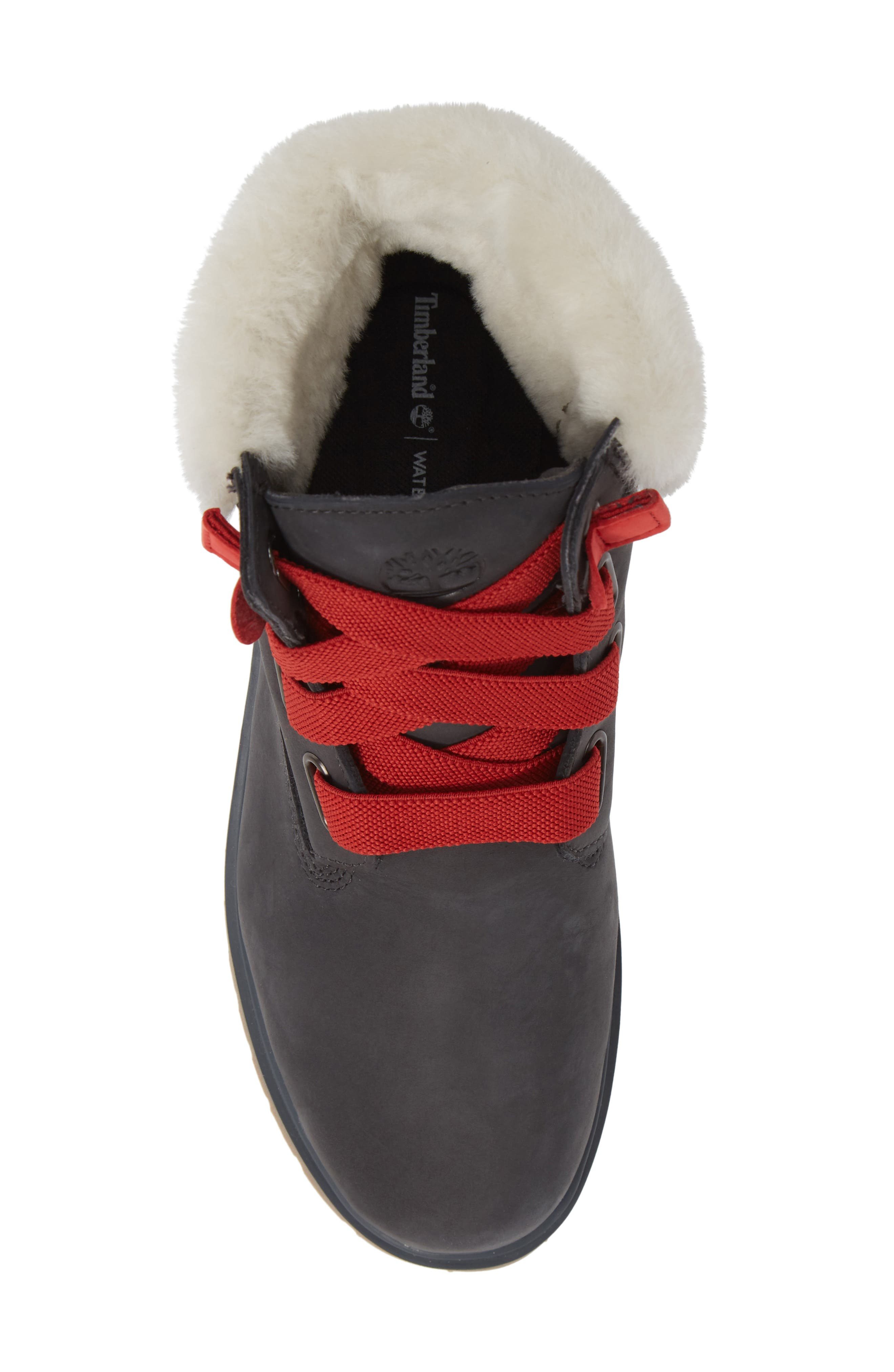 Convenience Waterproof Boot with Genuine Shearling Trim,                             Alternate thumbnail 5, color,                             065