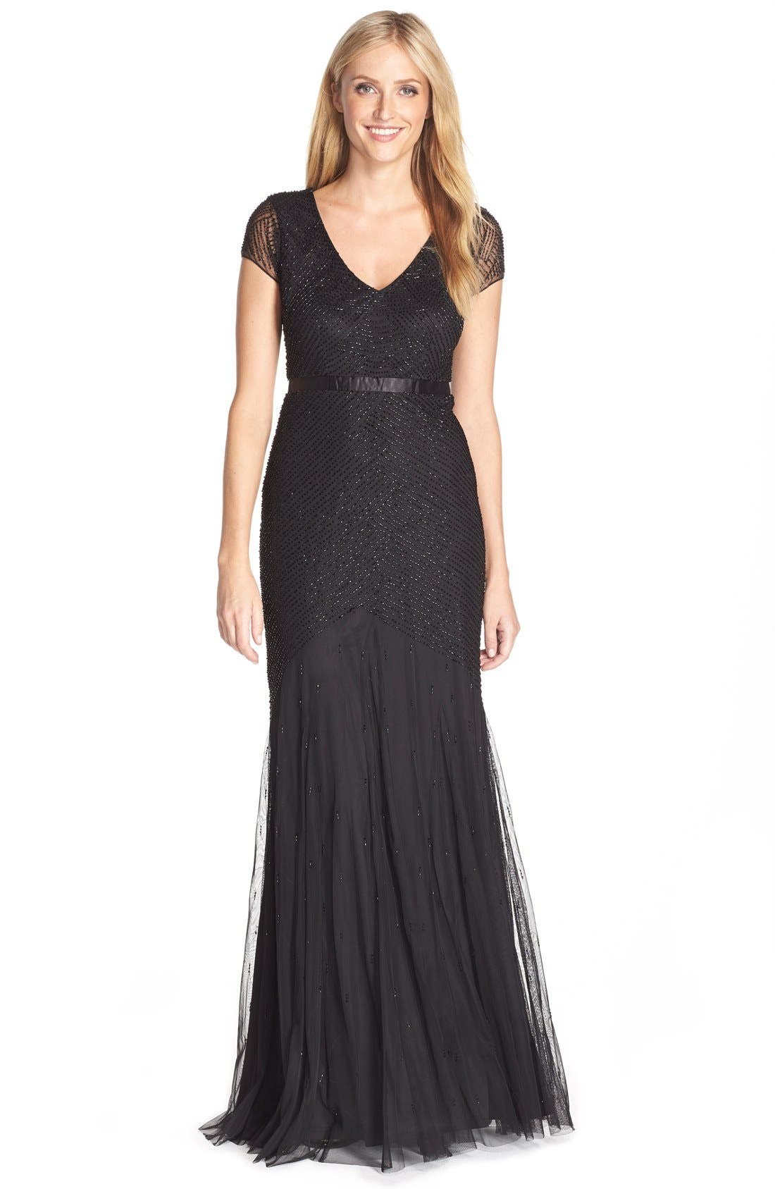 Beaded Mesh Gown,                         Main,                         color, 001