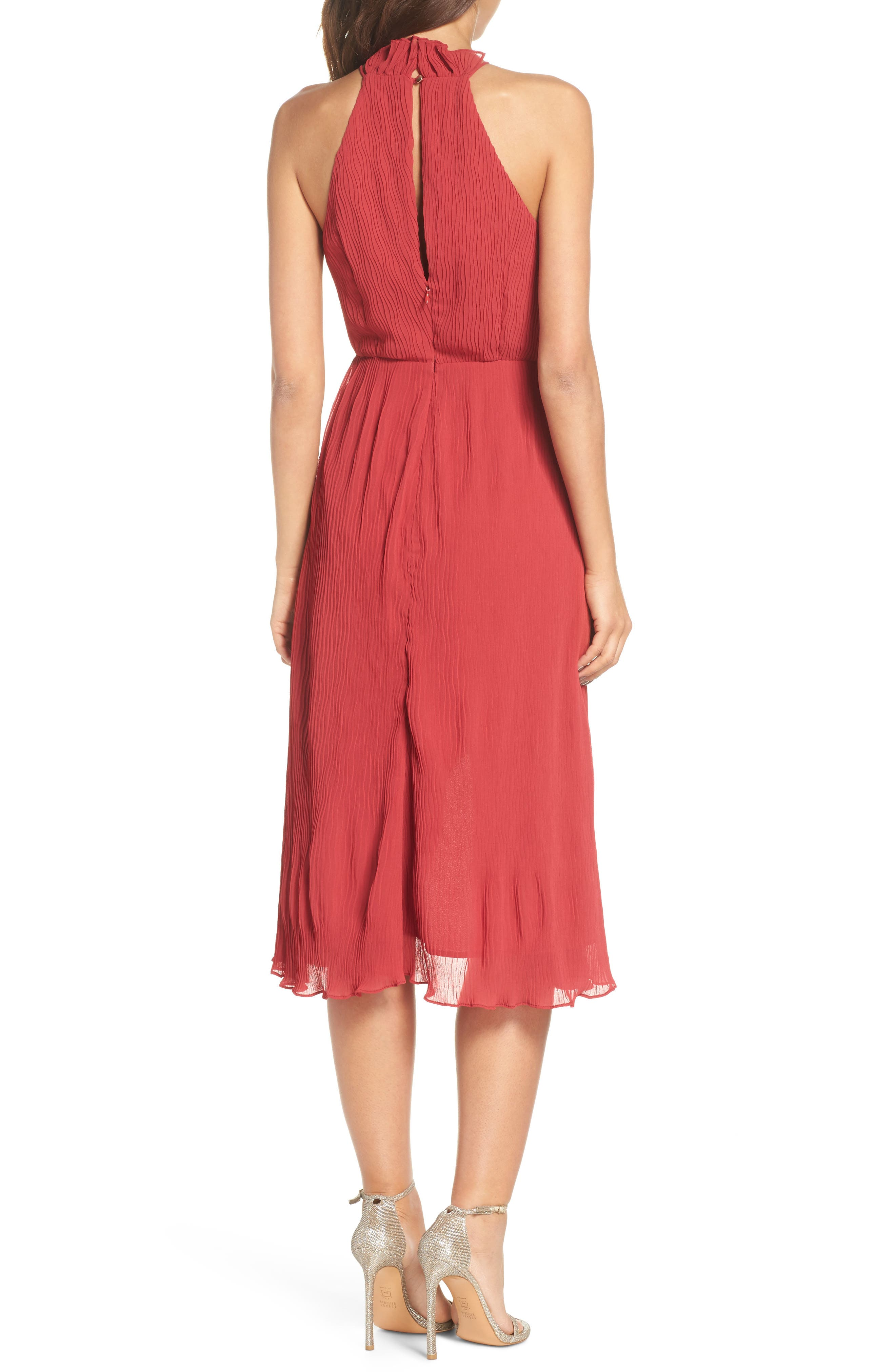Skylines Halter Midi Dress,                             Alternate thumbnail 3, color,