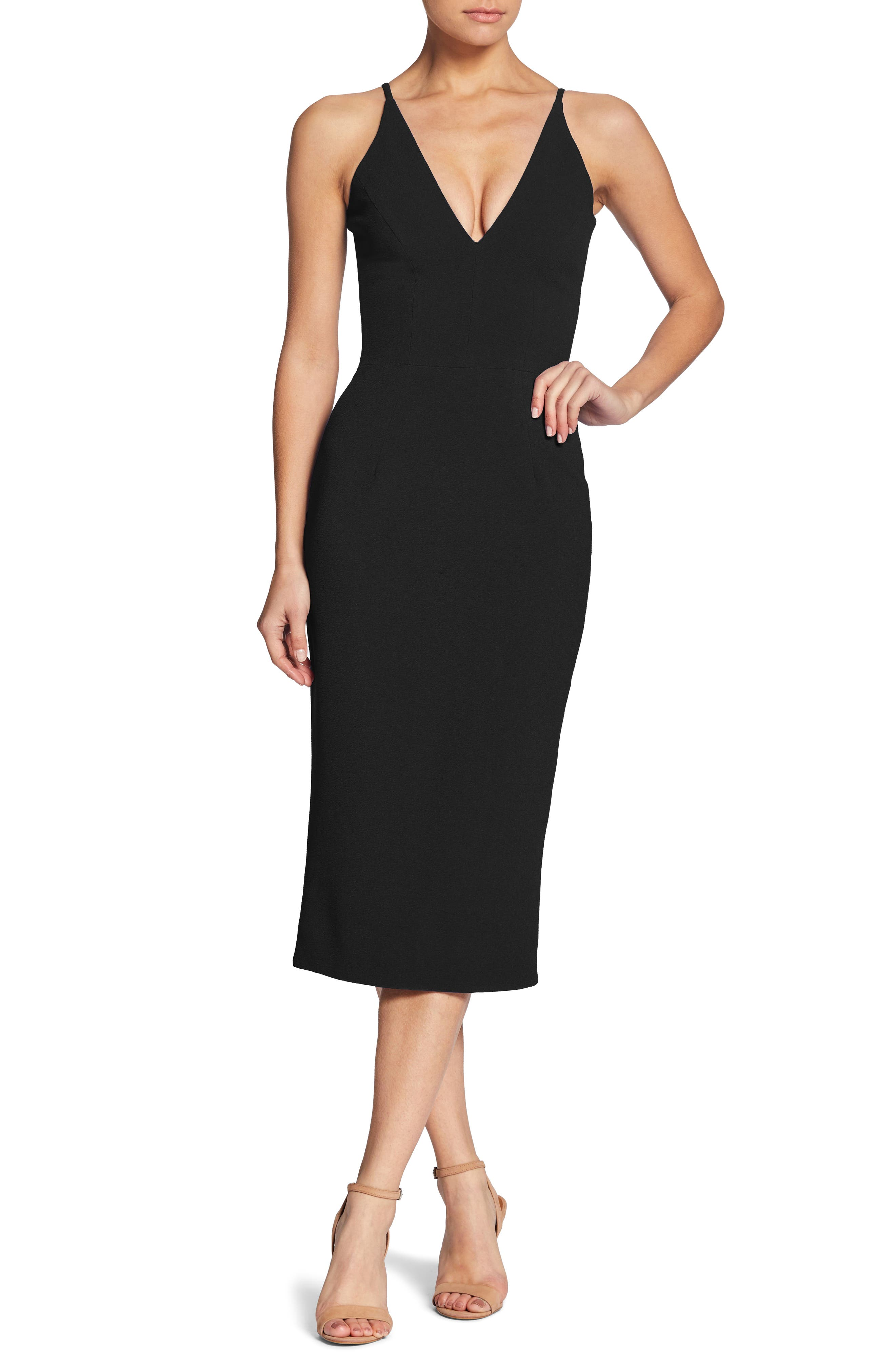 Dress The Population Lyla Crepe Sheath Dress, Black
