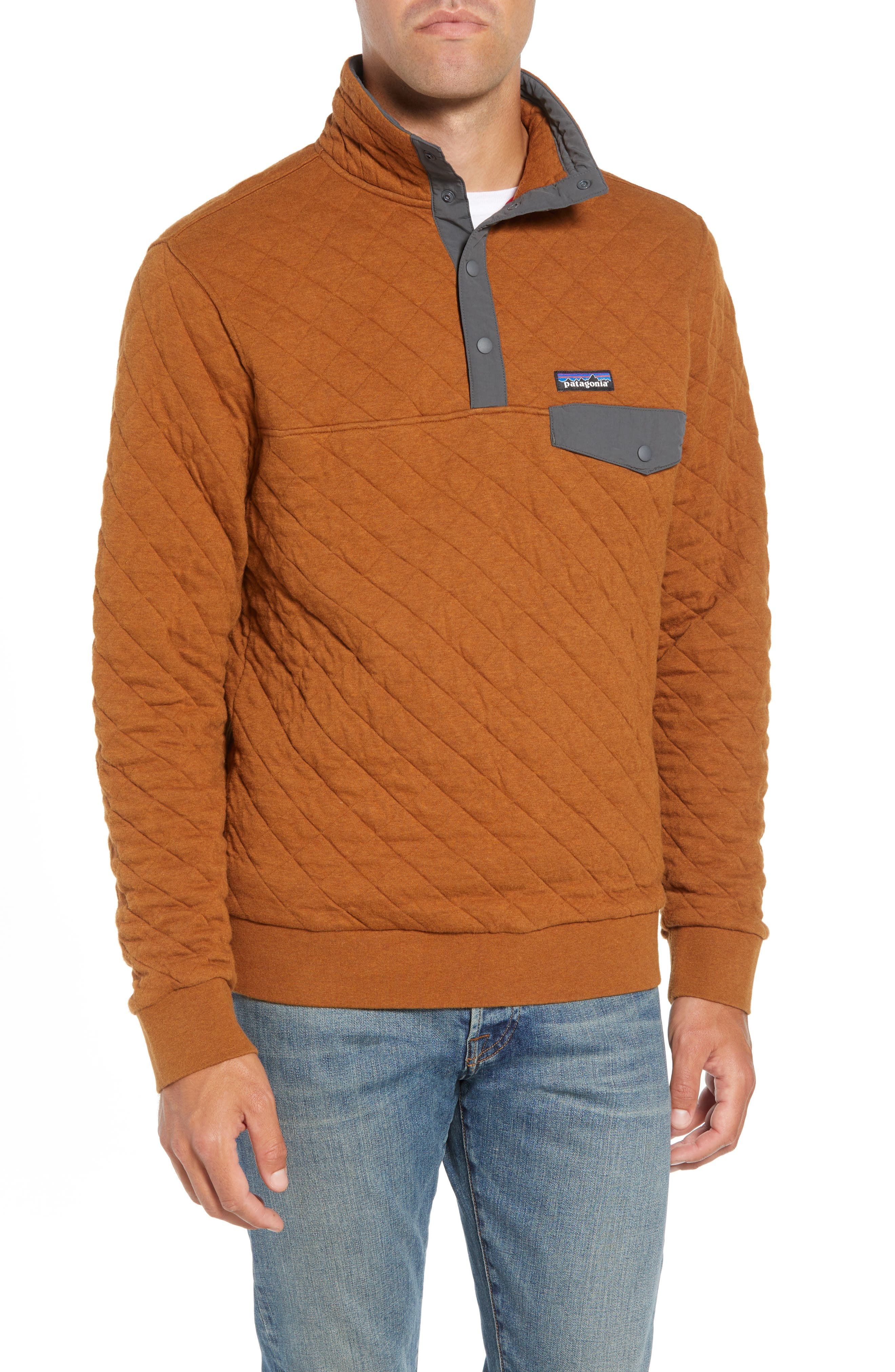 Snap-T<sup>®</sup> Quilted Fleece Pullover,                         Main,                         color, BENCE BROWN