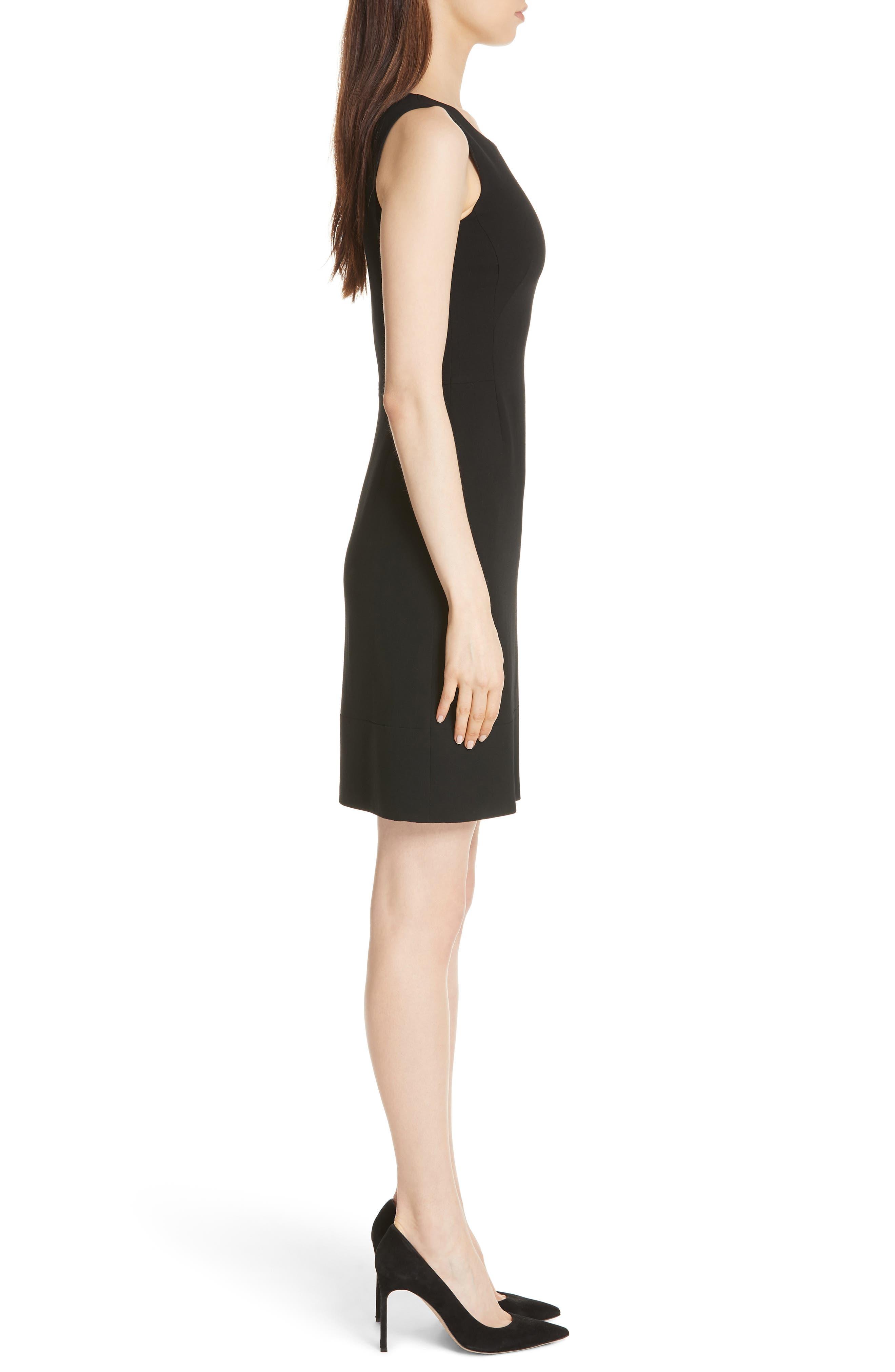 Double Face Wool Blend Dress,                             Alternate thumbnail 3, color,                             BLACK