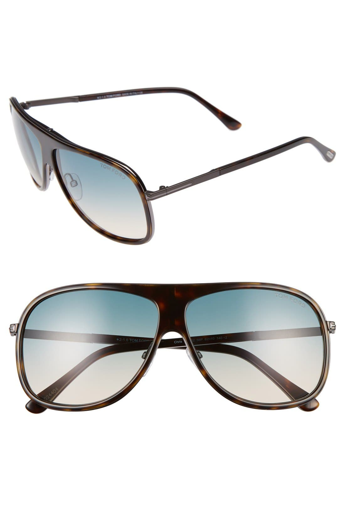 'Chris' 62mm Sunglasses,                             Main thumbnail 1, color,                             SHINY HAVANA/ TURQUOISE