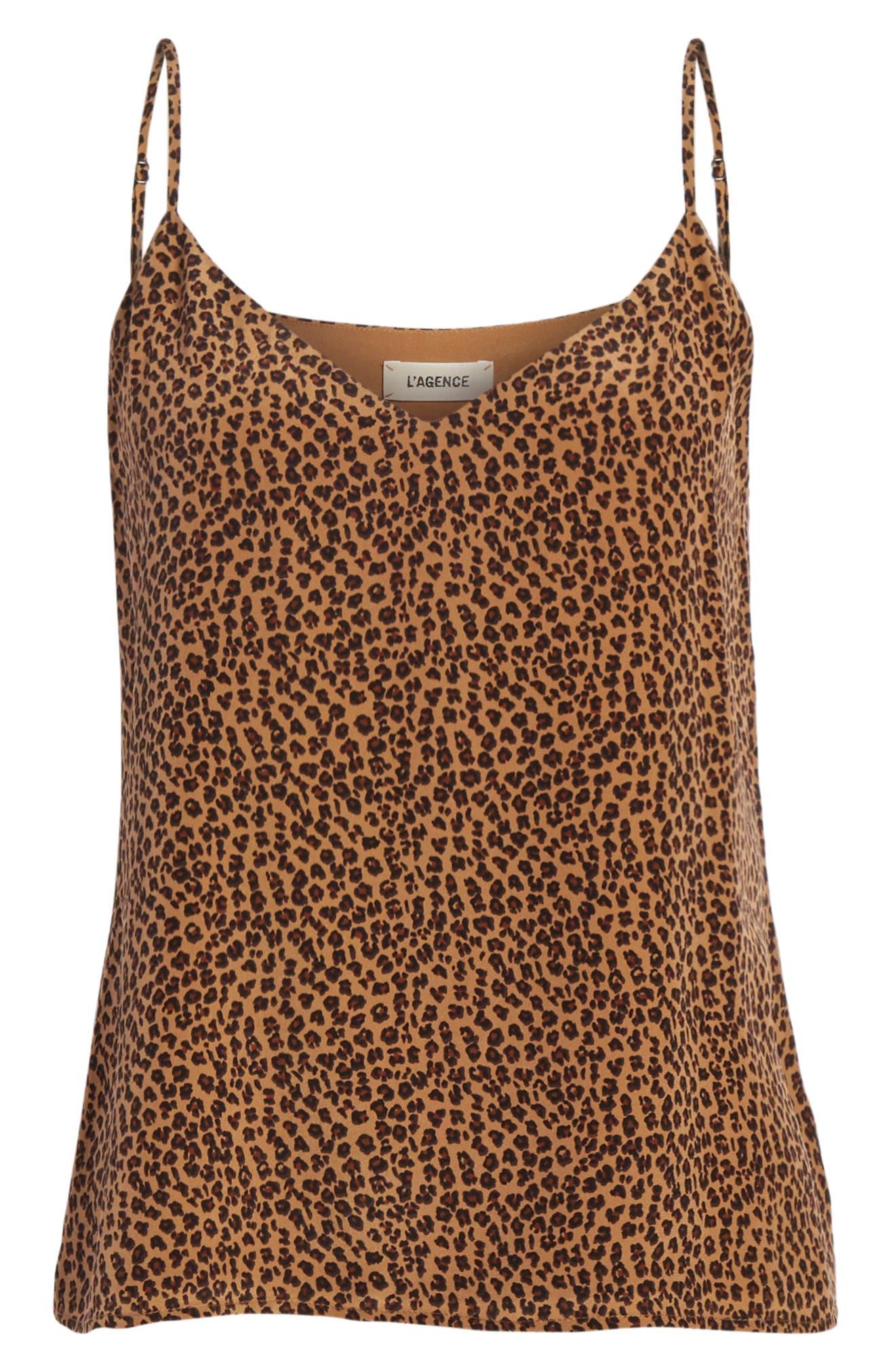 Jane Leopard Print Silk Camisole,                             Alternate thumbnail 6, color,                             BLACK MULTI
