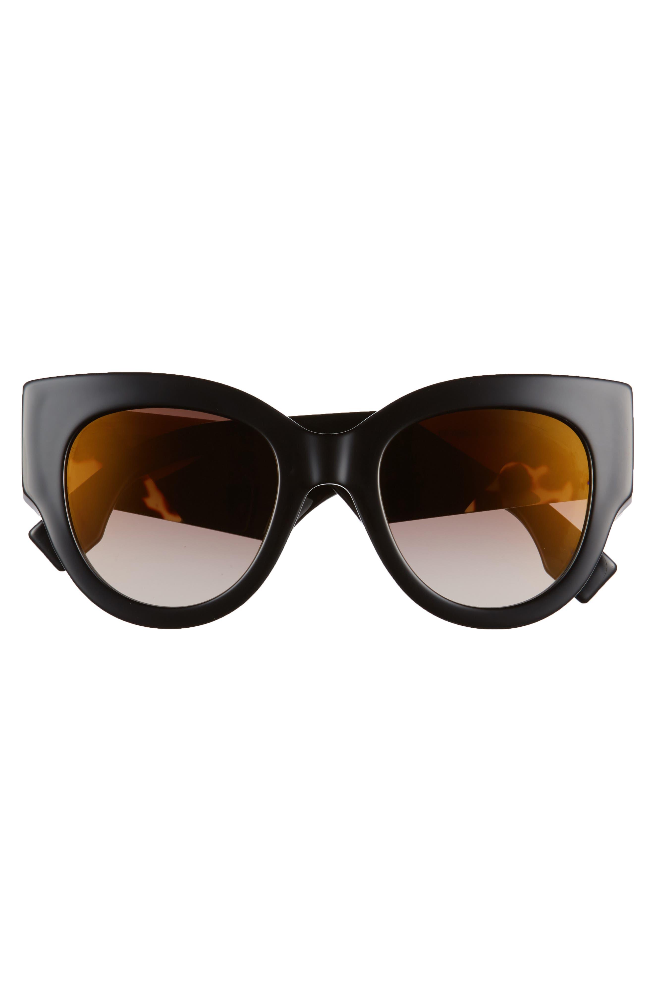 51mm Cat Eye Sunglasses,                             Alternate thumbnail 3, color,                             001