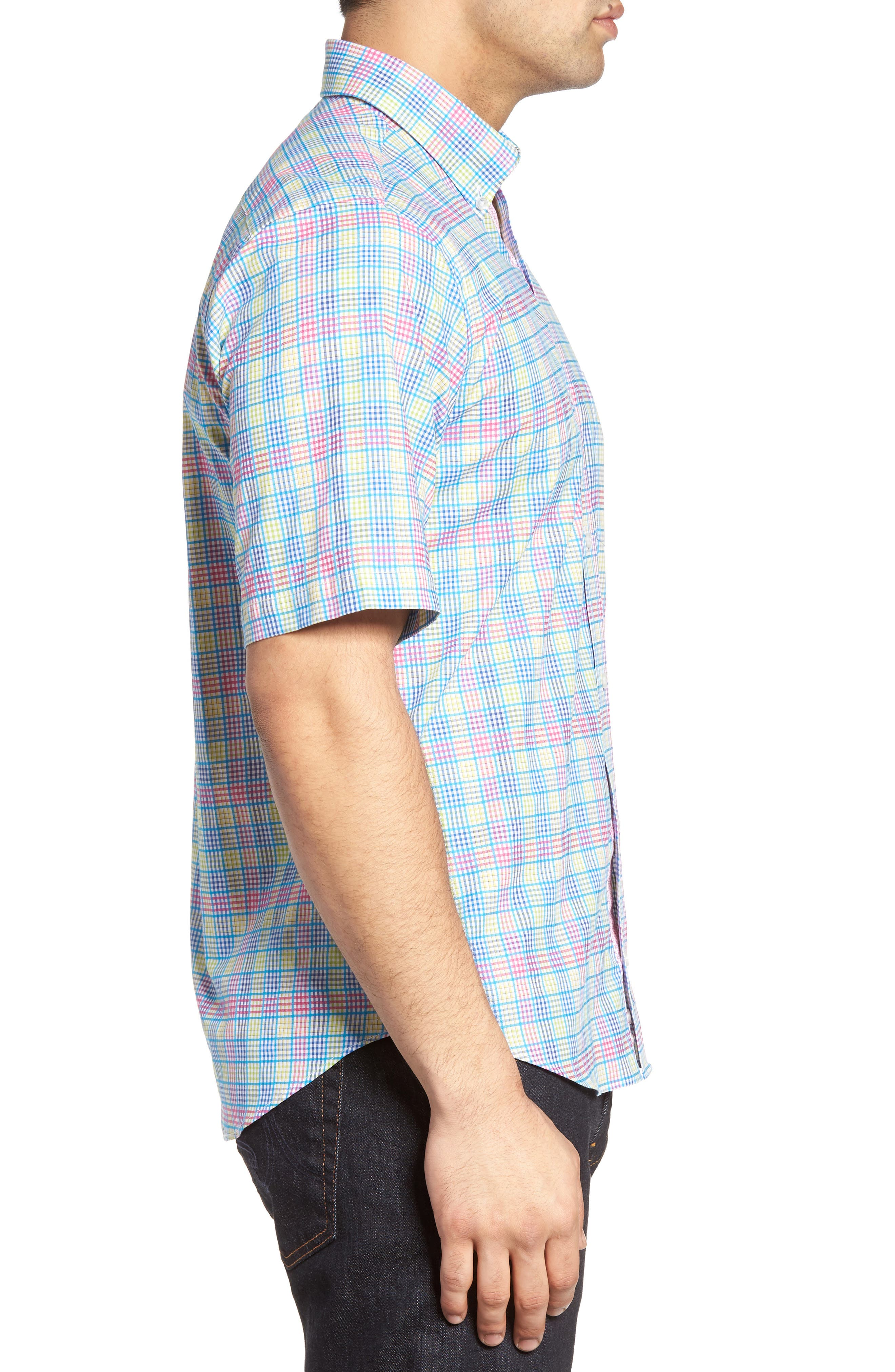 Lemon Plaid Sport Shirt,                             Alternate thumbnail 3, color,                             400