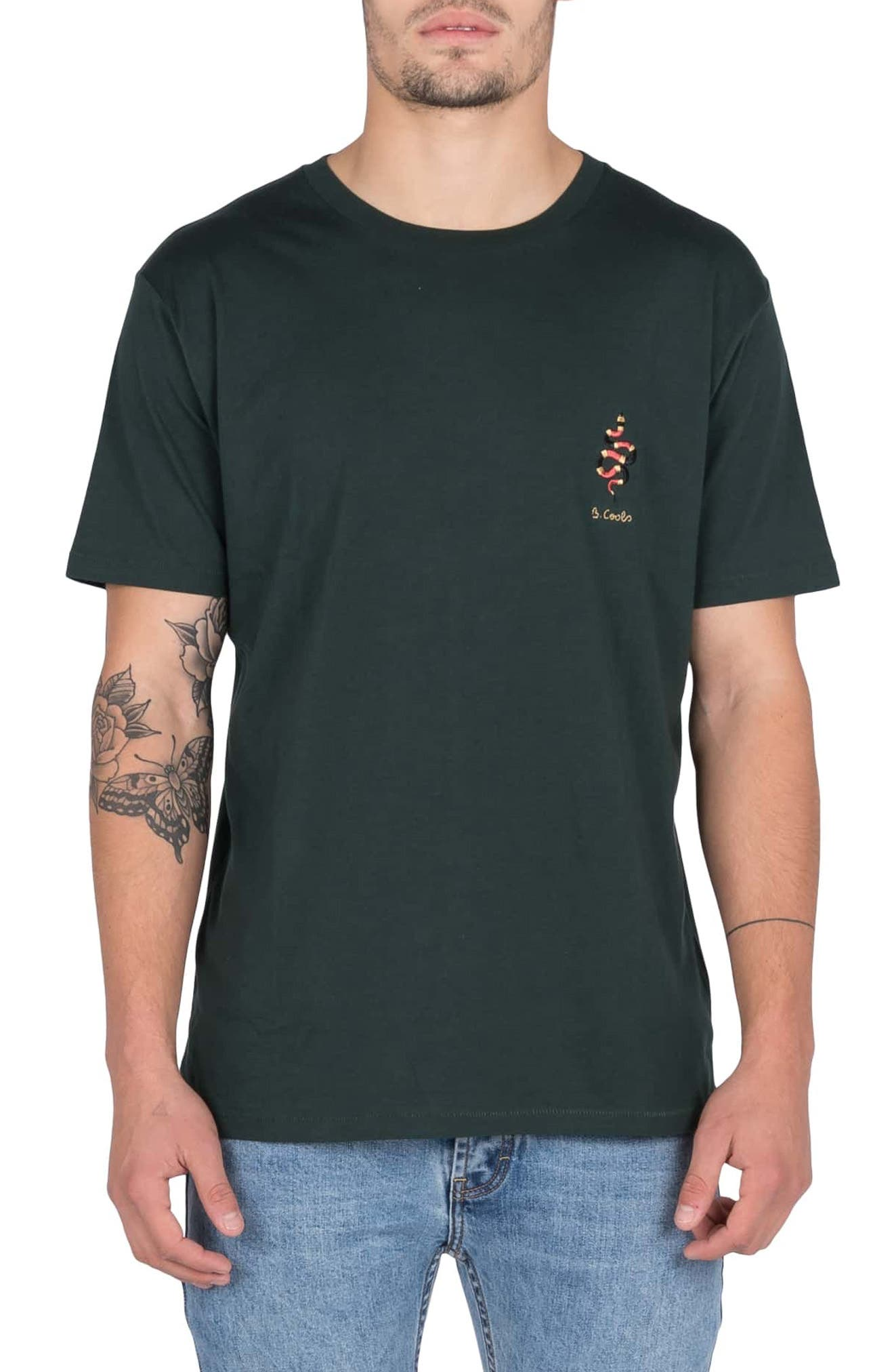 BARNEY COOLS Embroidered Snake T-Shirt in Forest