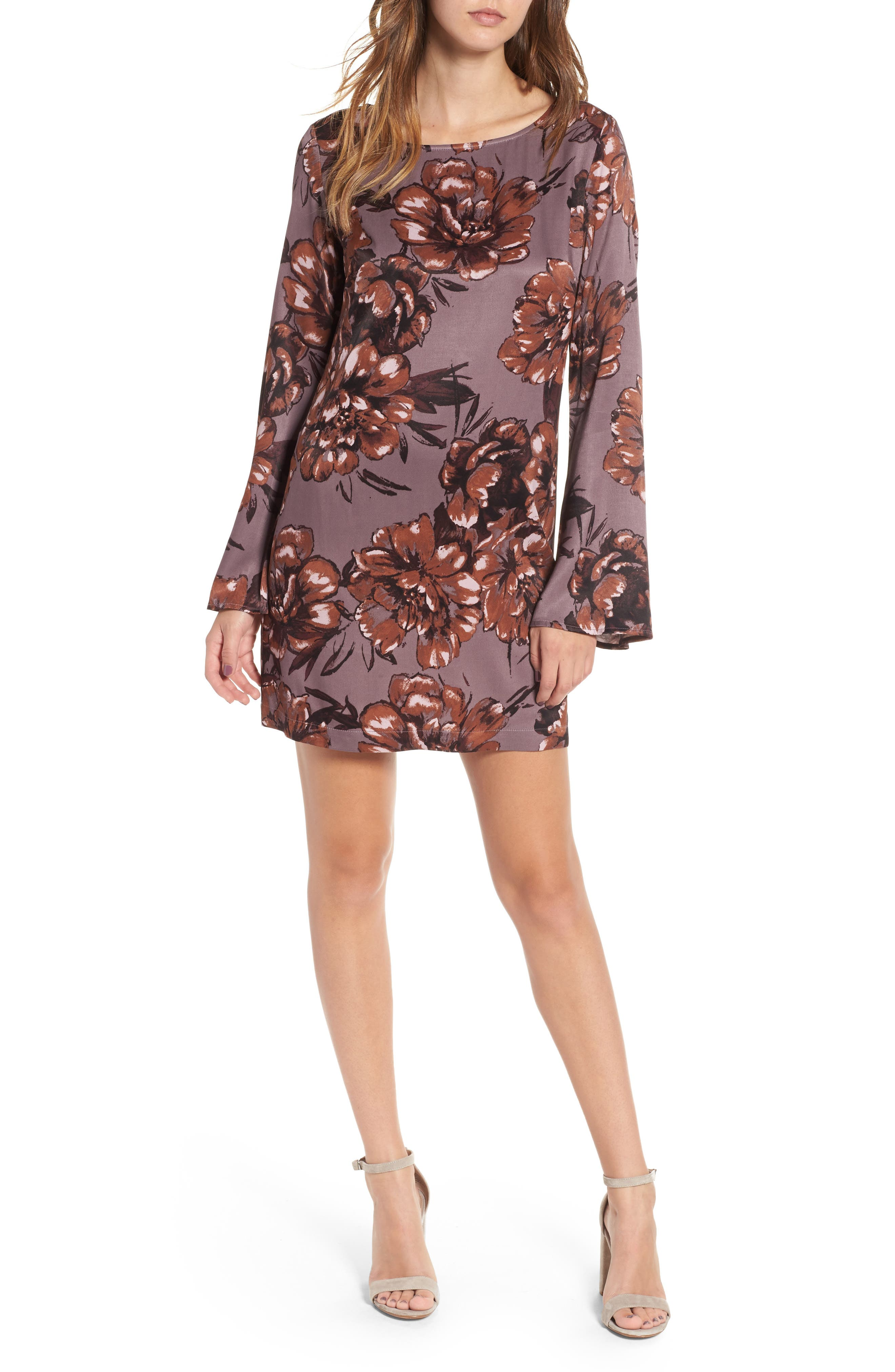 Bell Sleeve Shift Dress,                         Main,                         color, 021