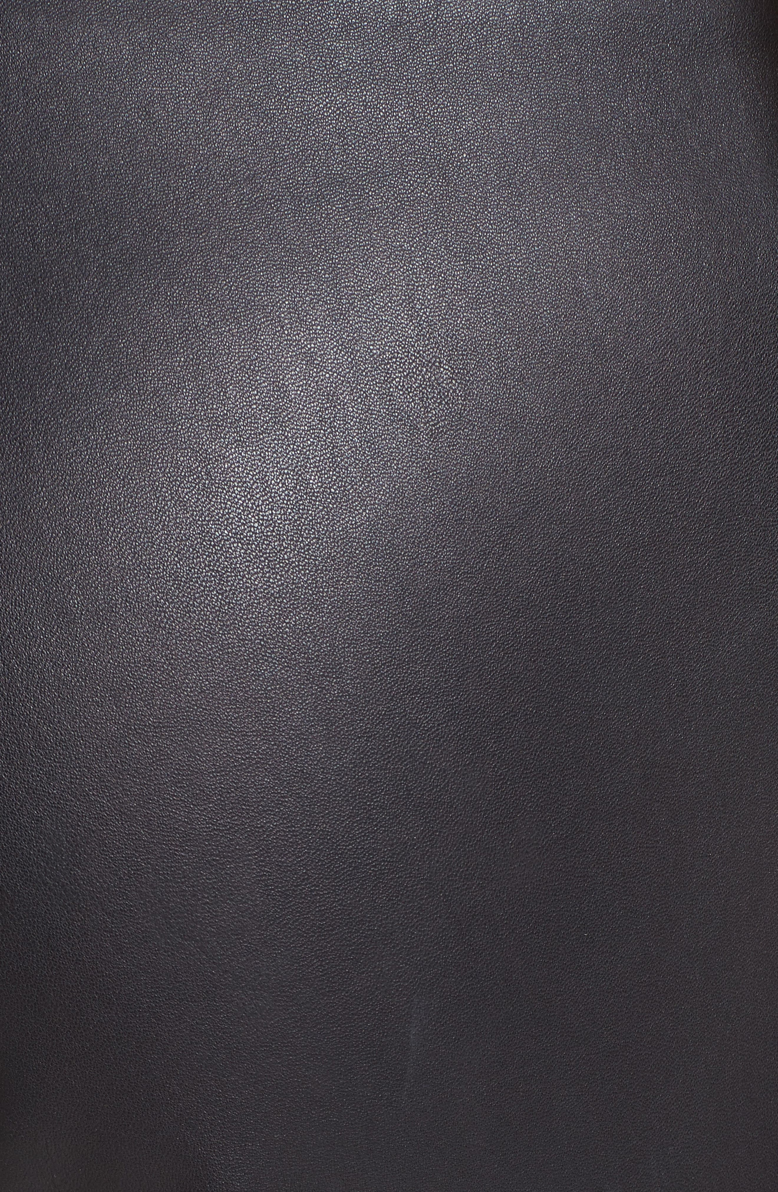 Side Zip Stretch Leather Leggings,                             Alternate thumbnail 5, color,                             001