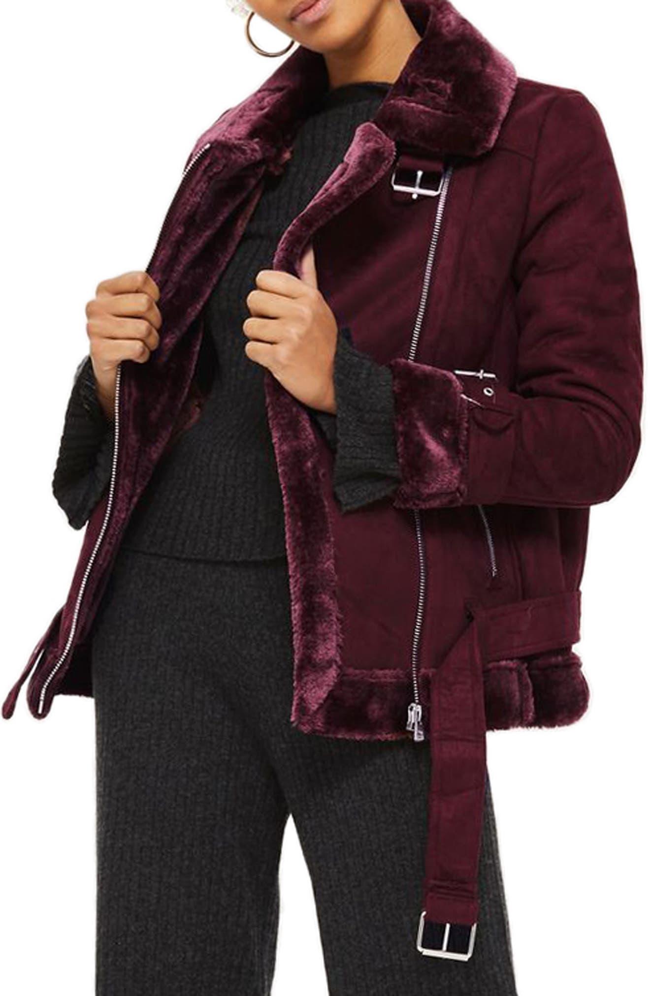 Cooper Faux Shearling Biker Jacket,                         Main,                         color, 931
