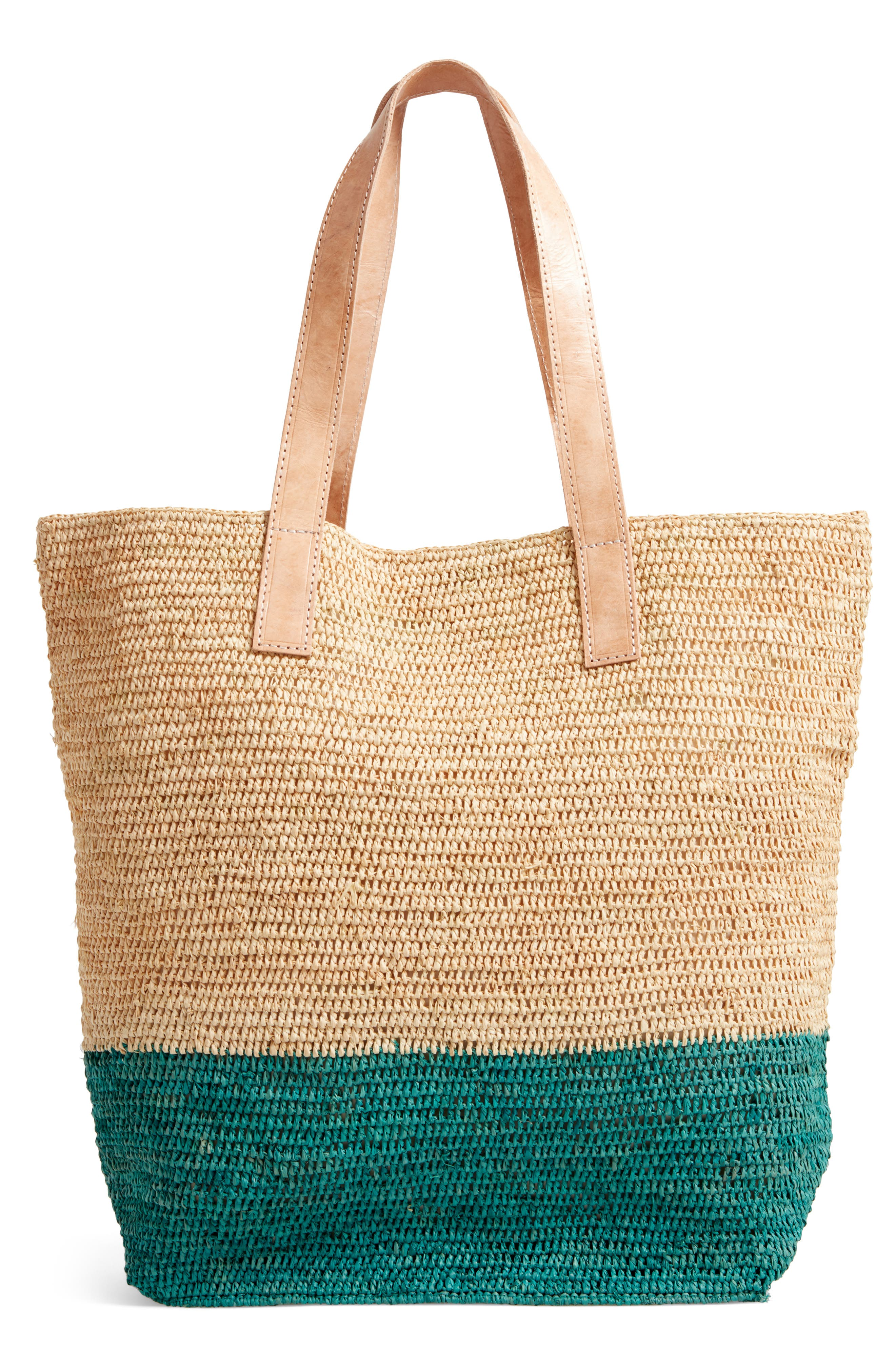 Montauk Woven Tote with Pom Charms,                             Alternate thumbnail 3, color,                             401