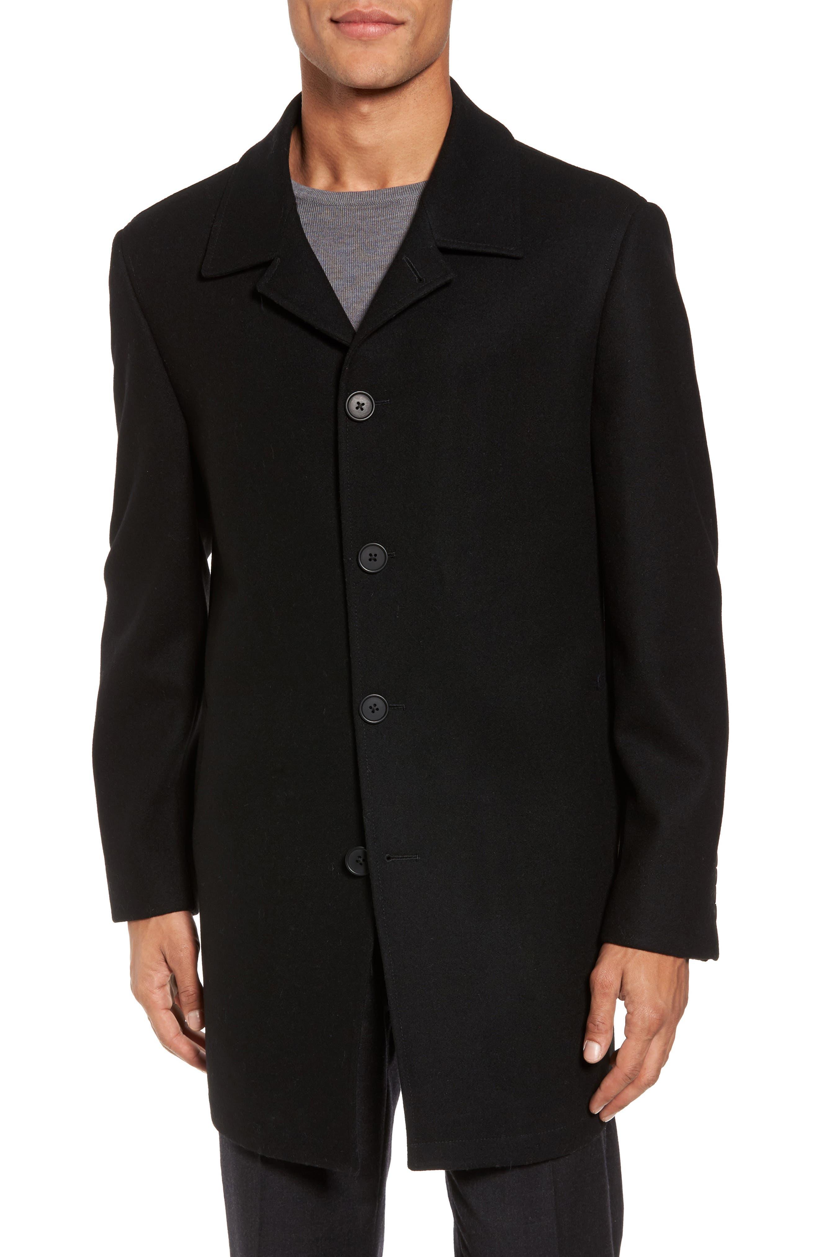 Wool Blend Car Coat,                             Alternate thumbnail 4, color,                             001