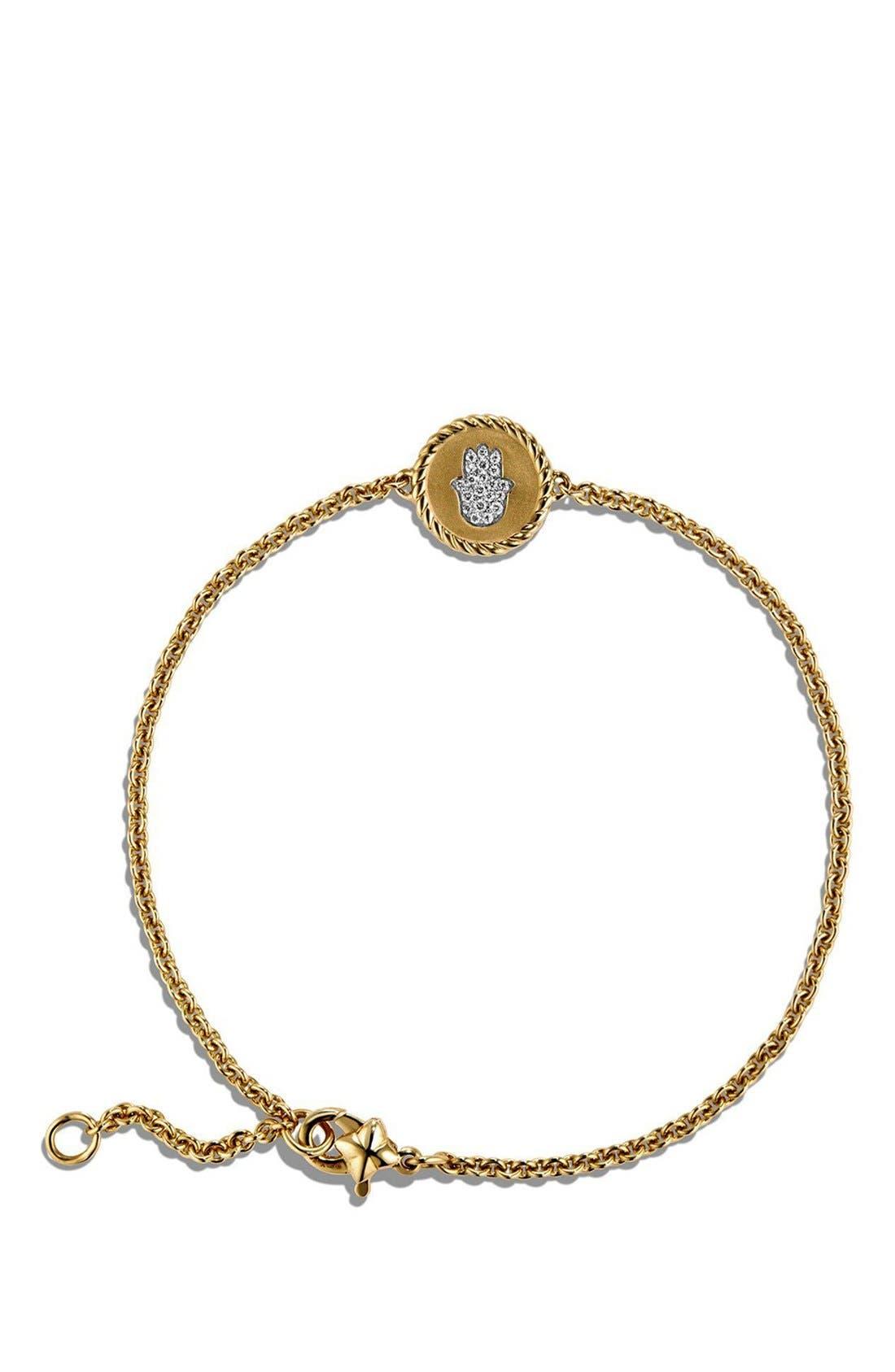 'Petite Pavé' Hamsa Bracelet with Diamonds in 18K Gold,                             Alternate thumbnail 3, color,                             GOLD