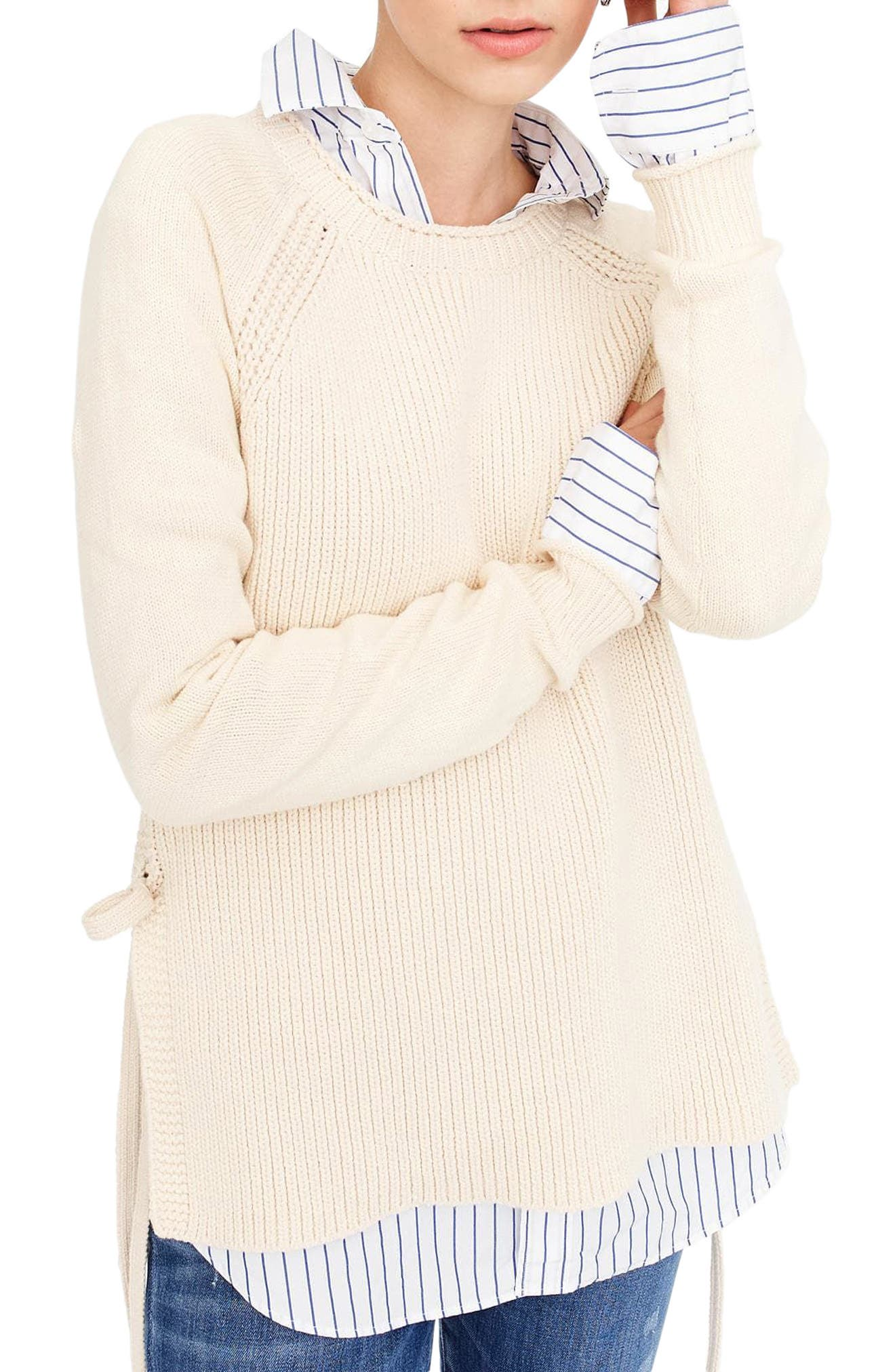 Side Tie Crewneck Sweater,                             Main thumbnail 2, color,