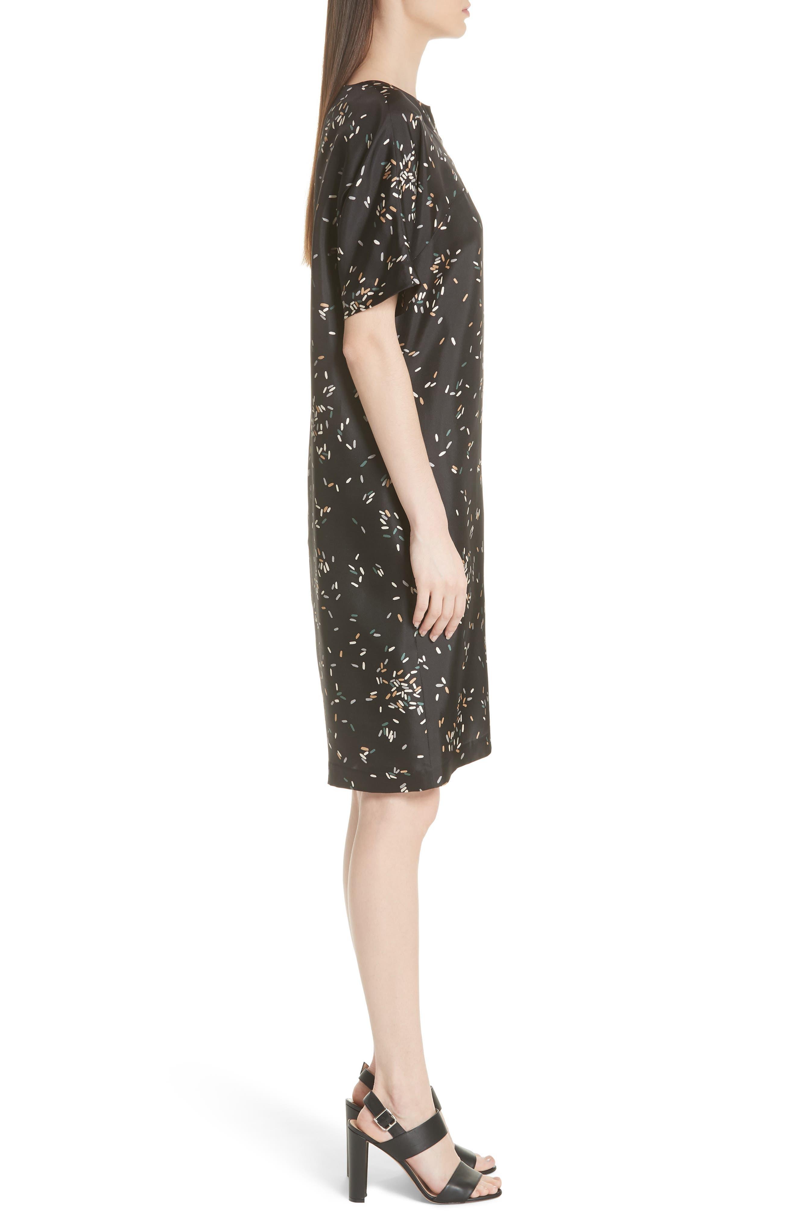 Thoren Silk Dress,                             Alternate thumbnail 3, color,                             BLACK MULTI