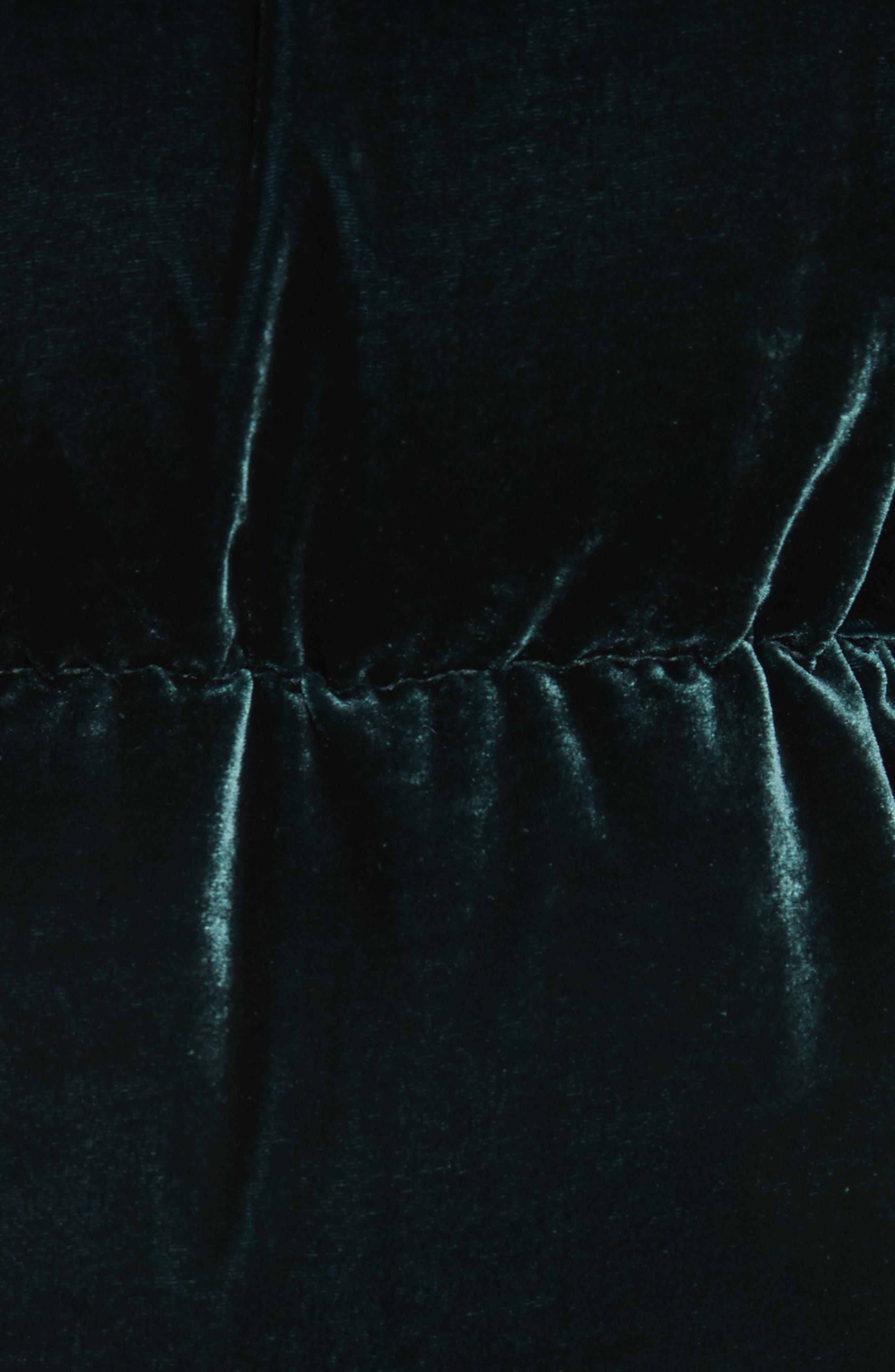 MONCLER,                             Butor Hooded Velvet Down Coat,                             Alternate thumbnail 6, color,                             FOREST GREEN