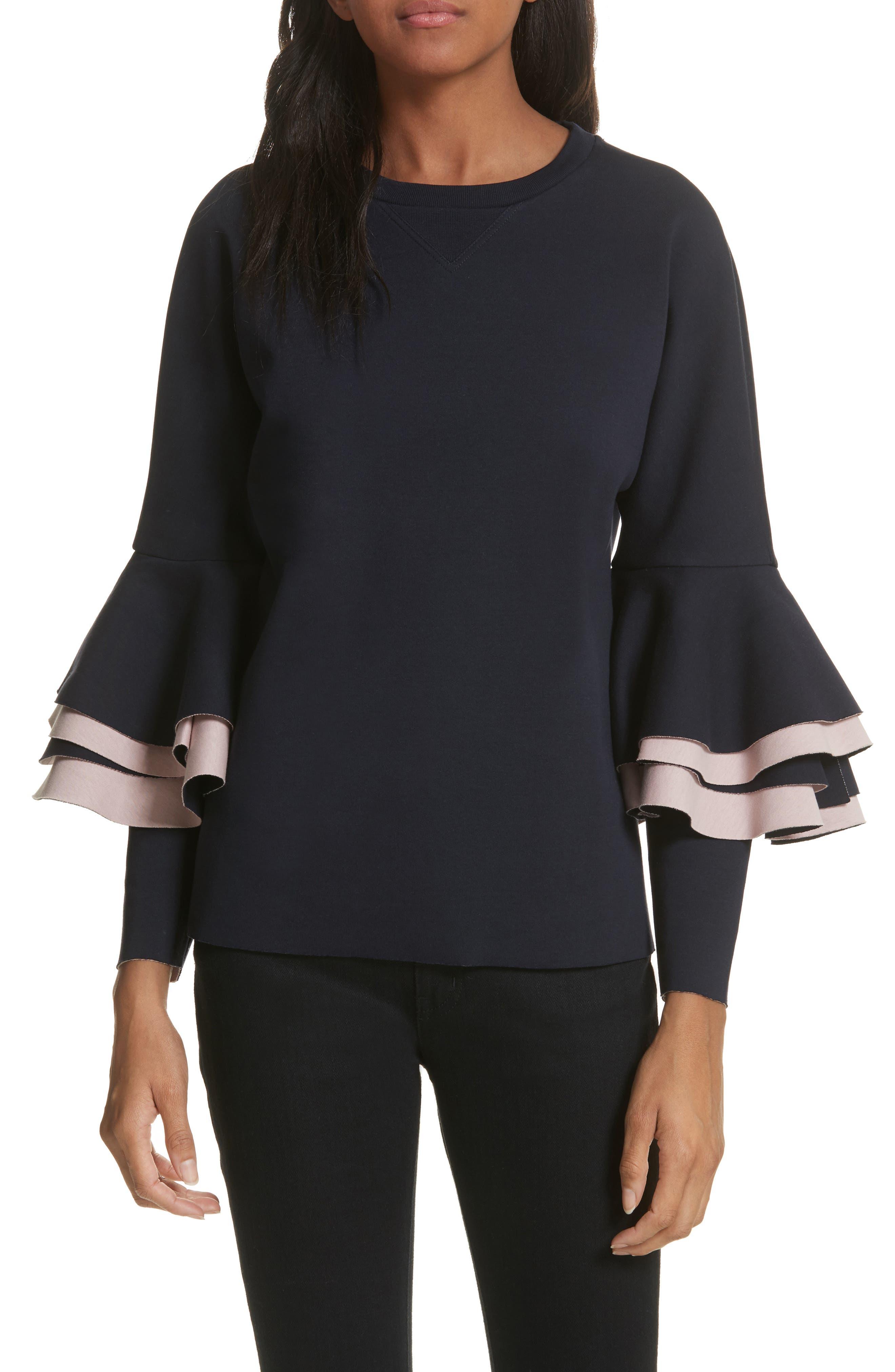 Frill Sleeve Sweatshirt,                         Main,                         color,