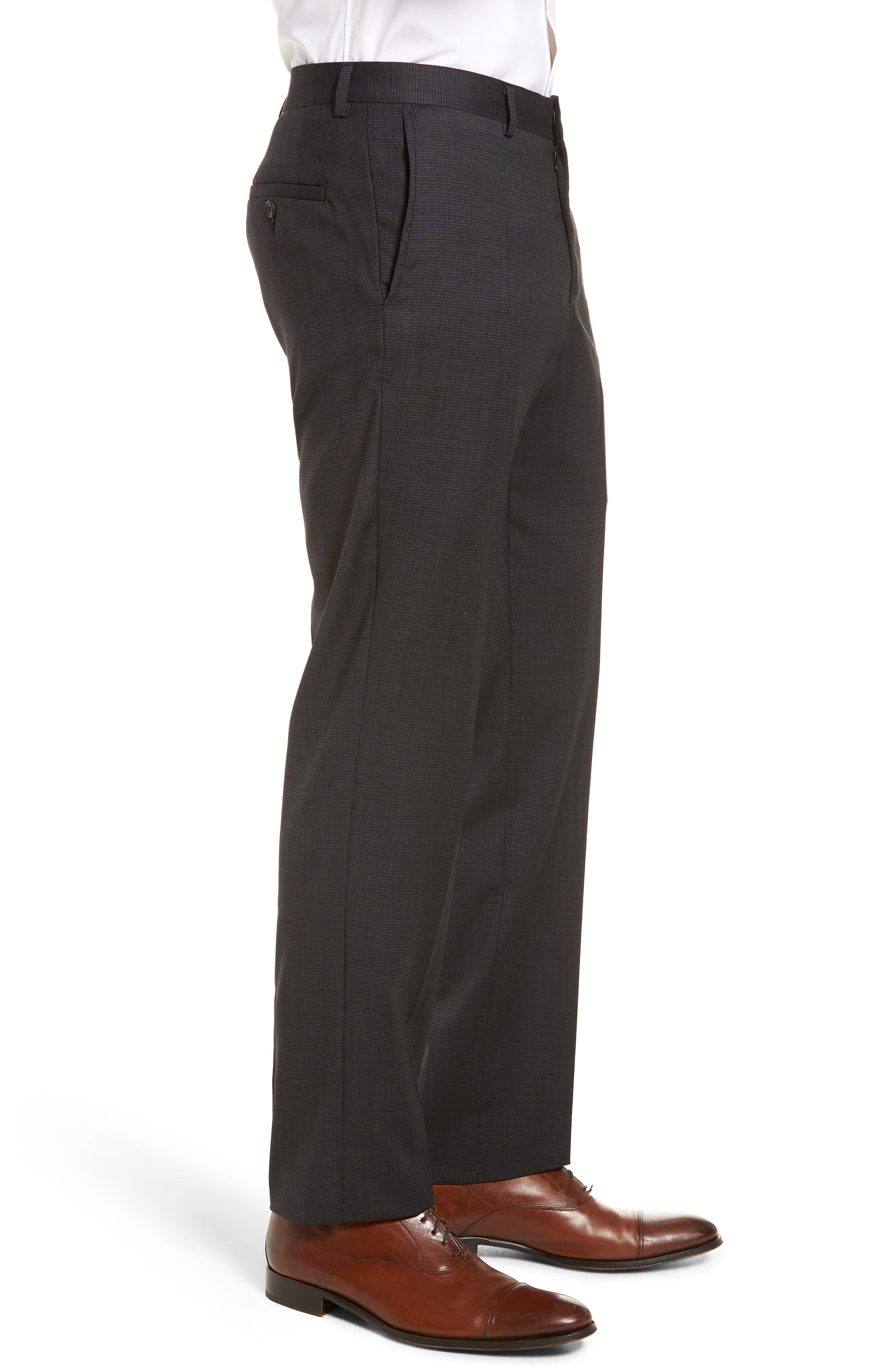 Tech-Smart Flat Front Stretch Wool Pants,                             Alternate thumbnail 4, color,                             021
