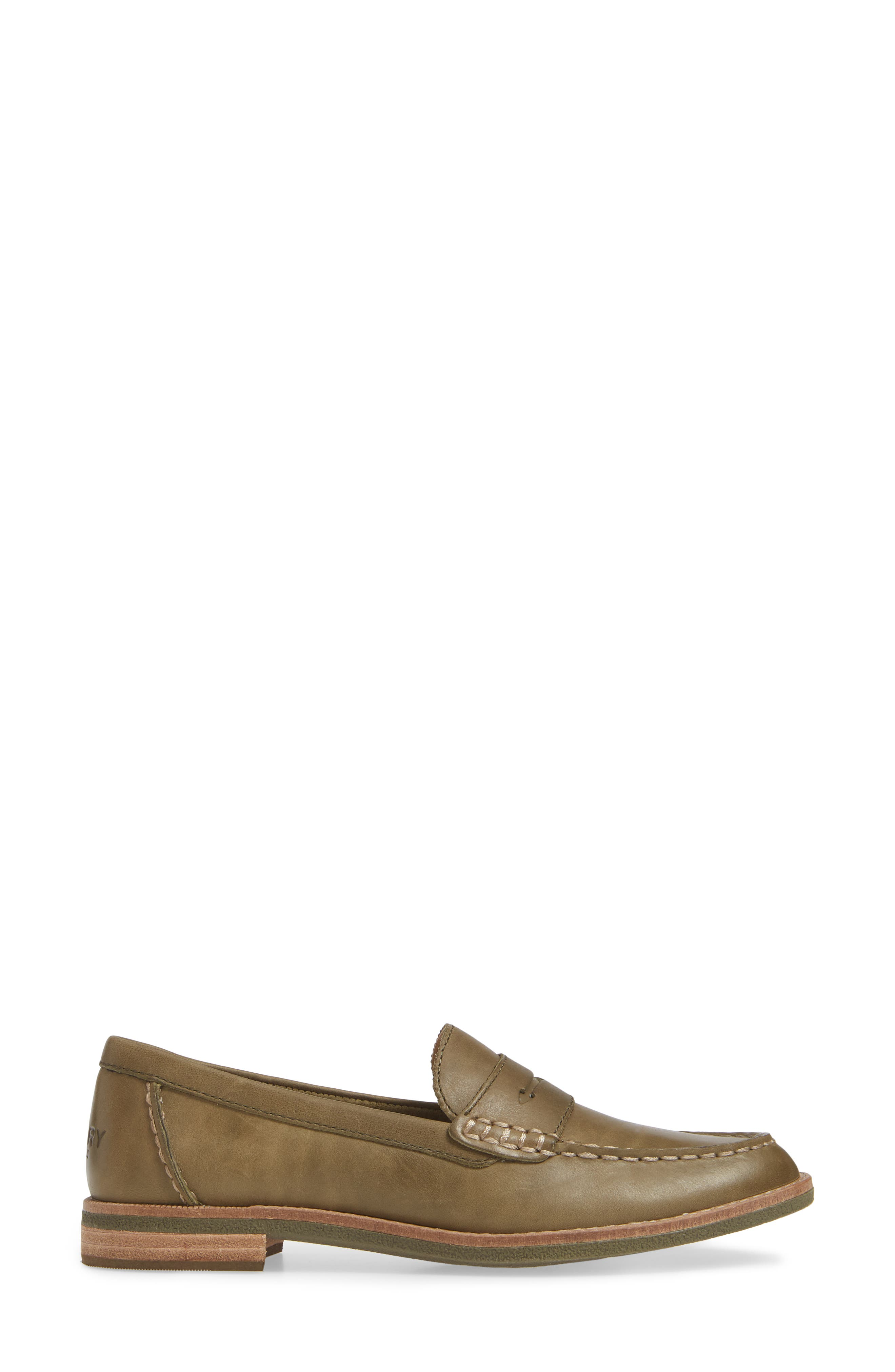 Seaport Penny Loafer,                             Alternate thumbnail 3, color,                             OLIVE LEATHER