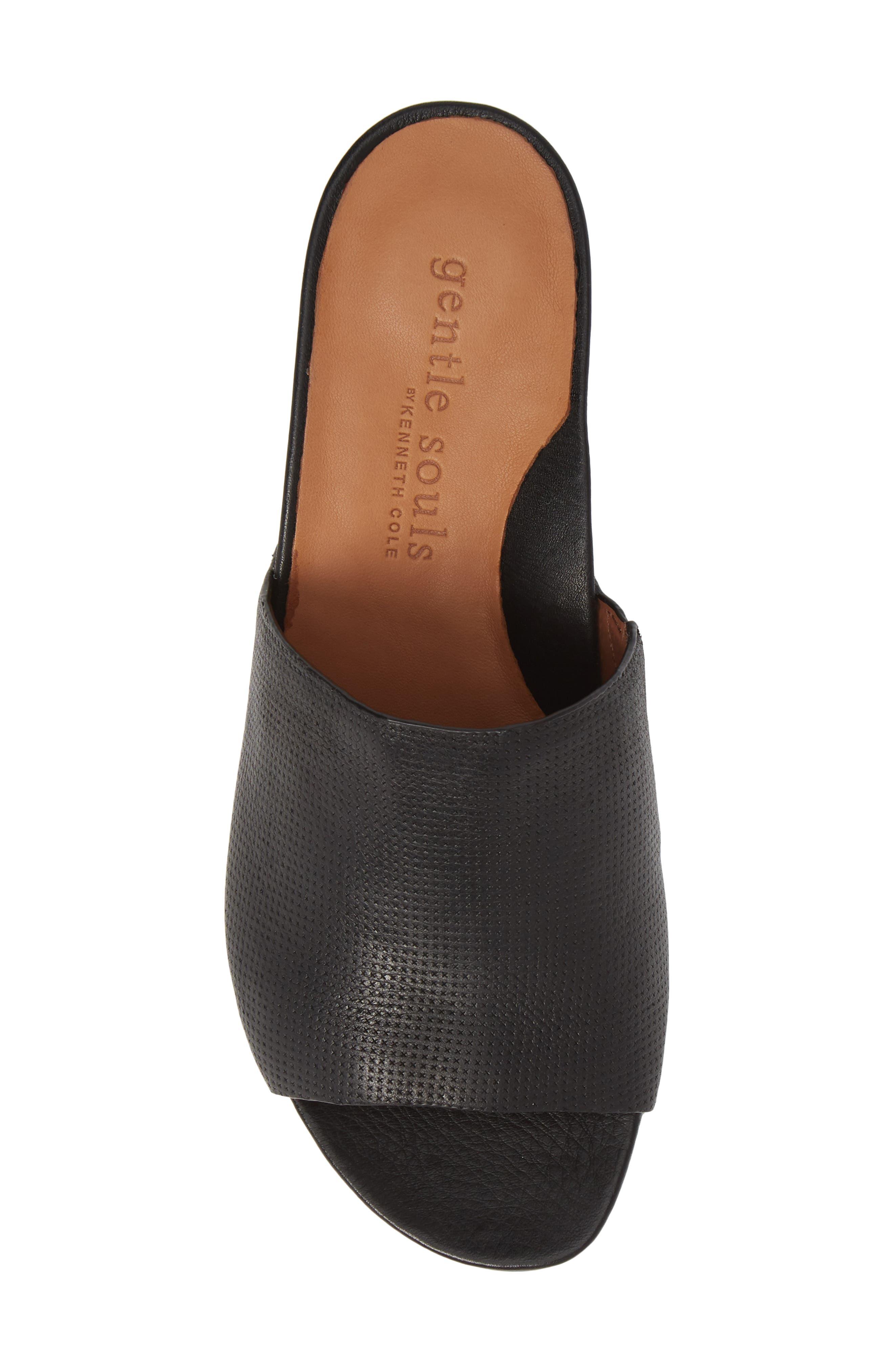 Gisele Wedge Slide Sandal,                             Alternate thumbnail 5, color,                             BLACK LEATHER