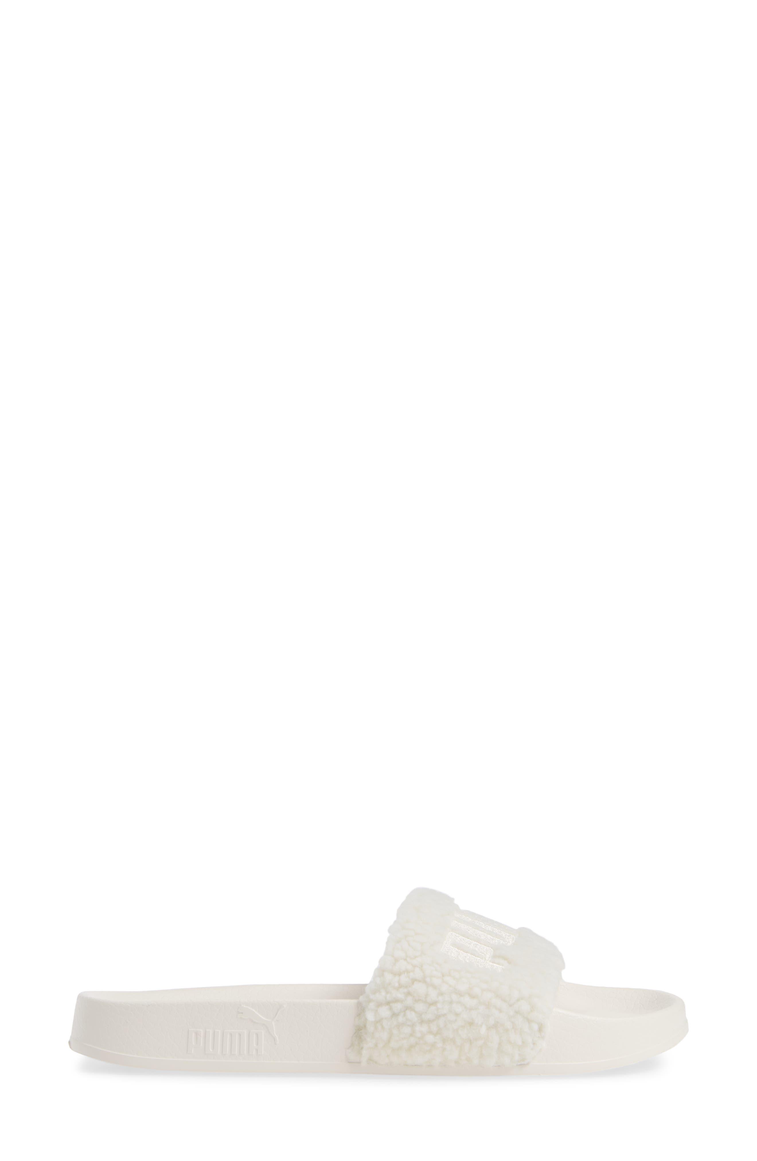 Leadcat Faux Shearling Slide Sandal,                             Alternate thumbnail 3, color,                             WHISPER WHITE