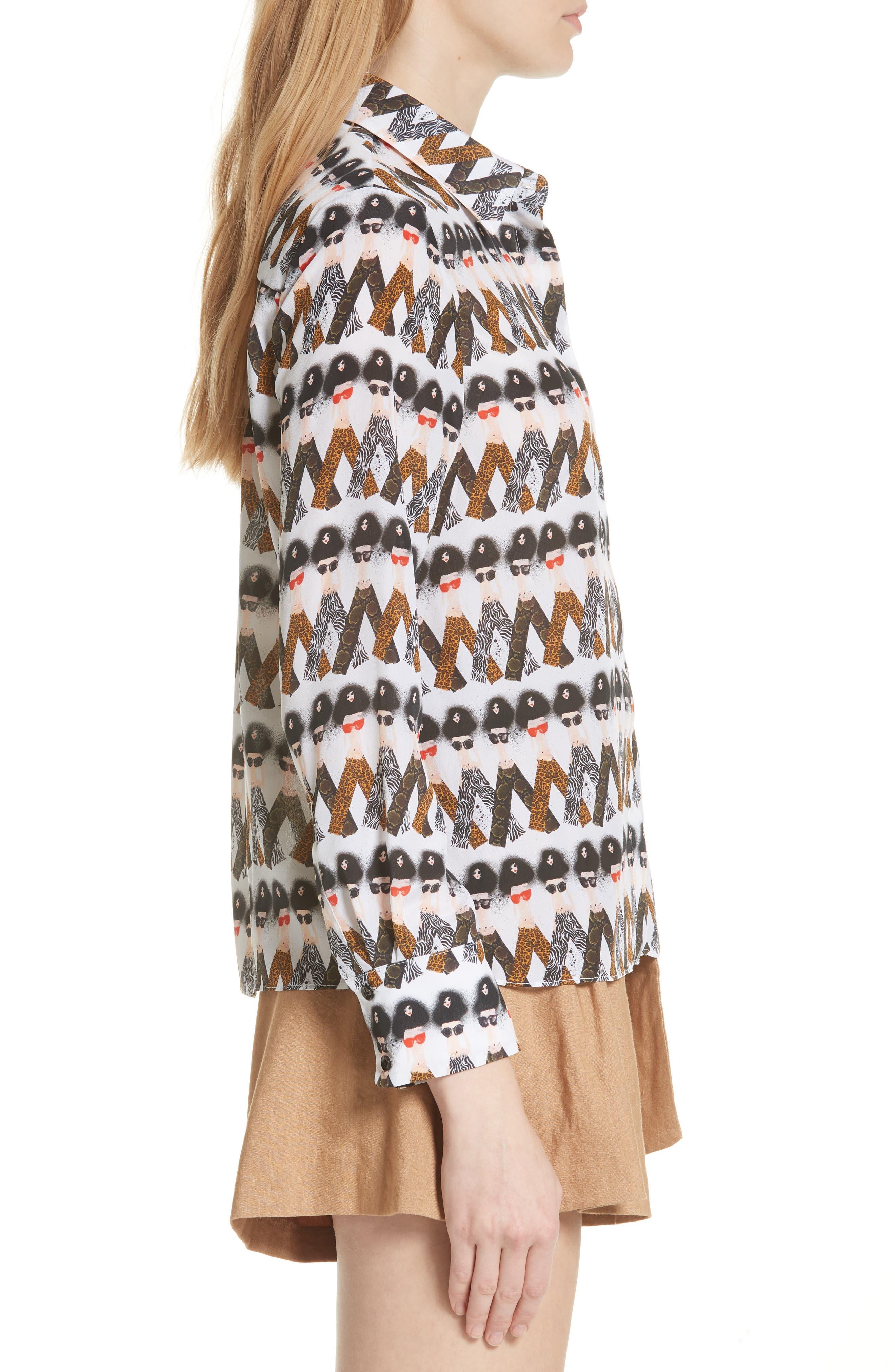 Willa Crazy Pants Silk Shirt,                             Alternate thumbnail 3, color,                             903