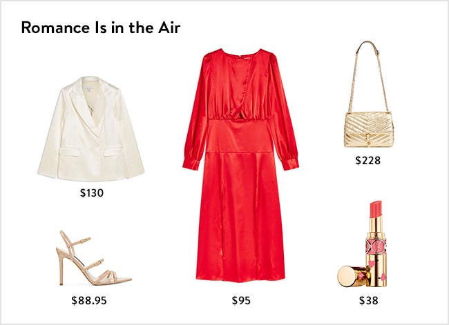 Romance is in the air: women's clothing, shoes, handbags, lipstick and more.