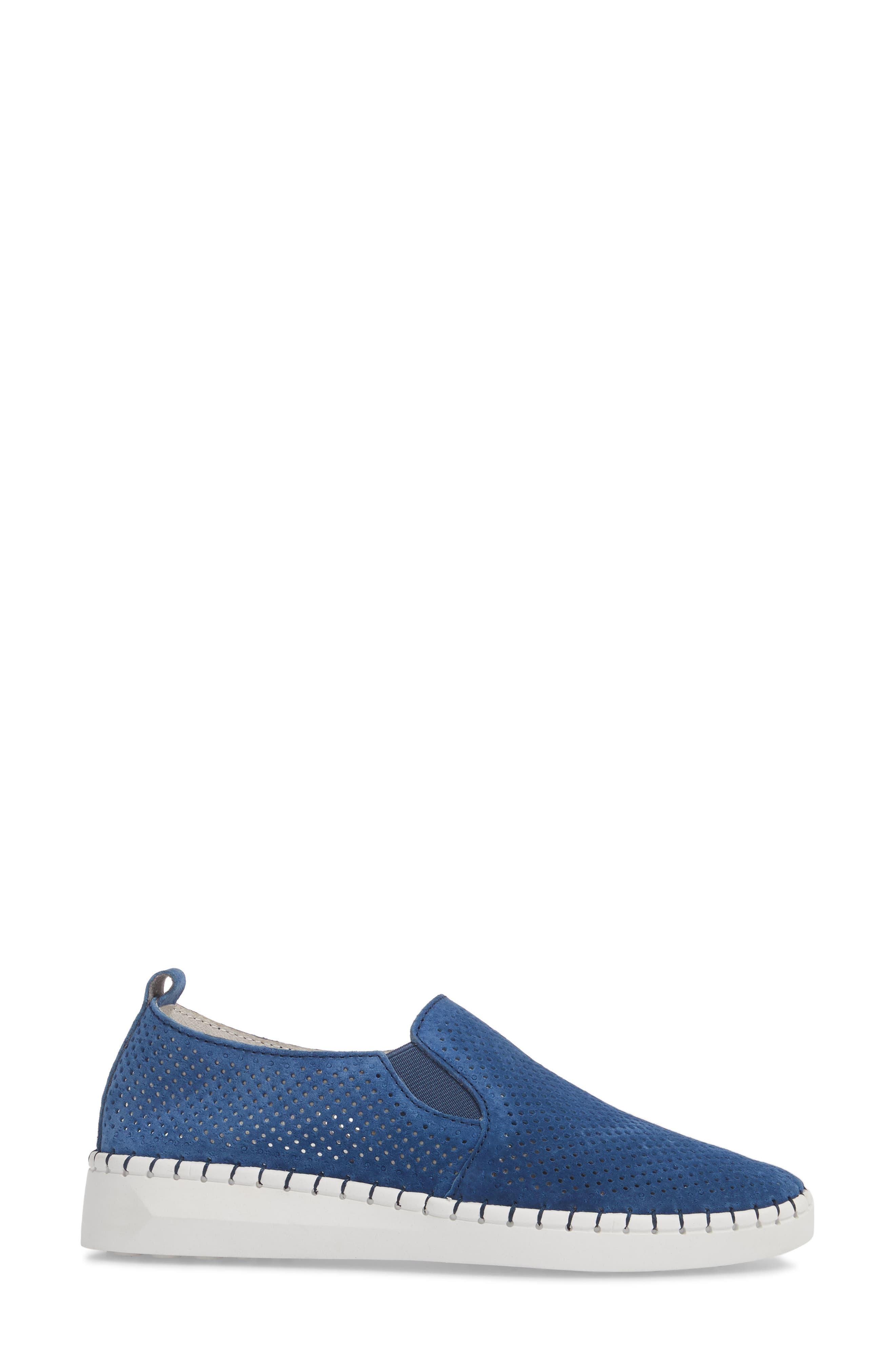Slip-On Sneaker,                             Alternate thumbnail 3, color,                             BLUE LEATHER