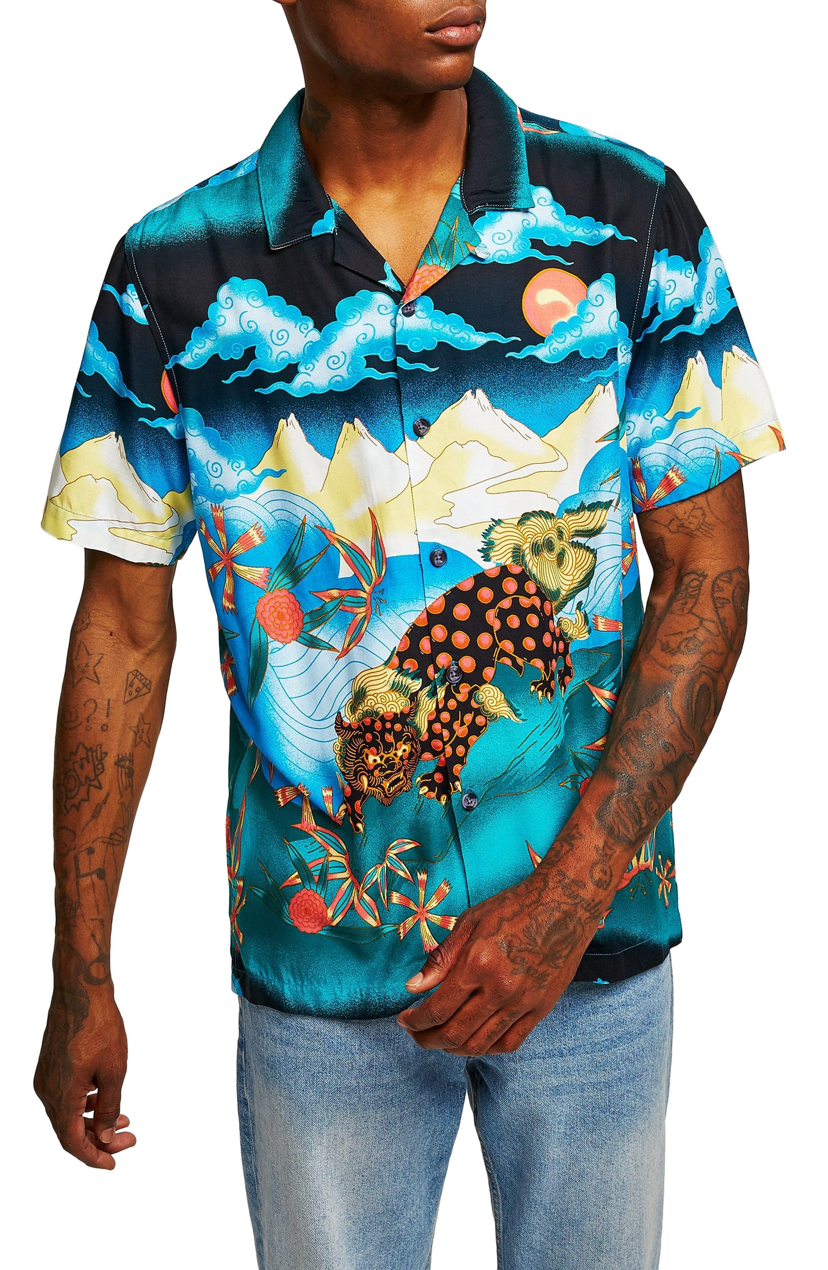 Foo Dog Classic Fit Shirt,                         Main,                         color, BLUE MULTI