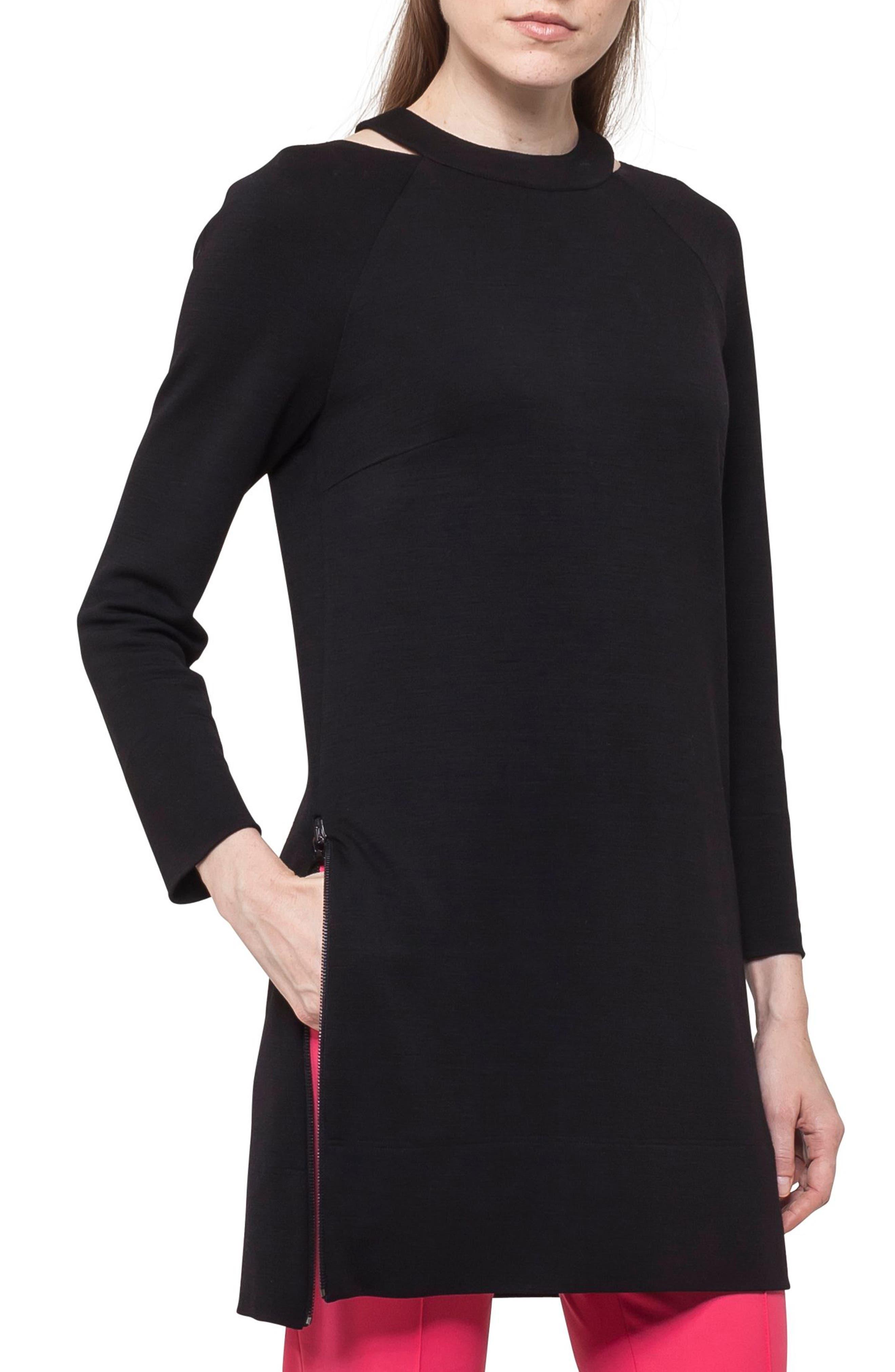 Choker Neck Tunic Dress,                             Main thumbnail 1, color,                             BLACK