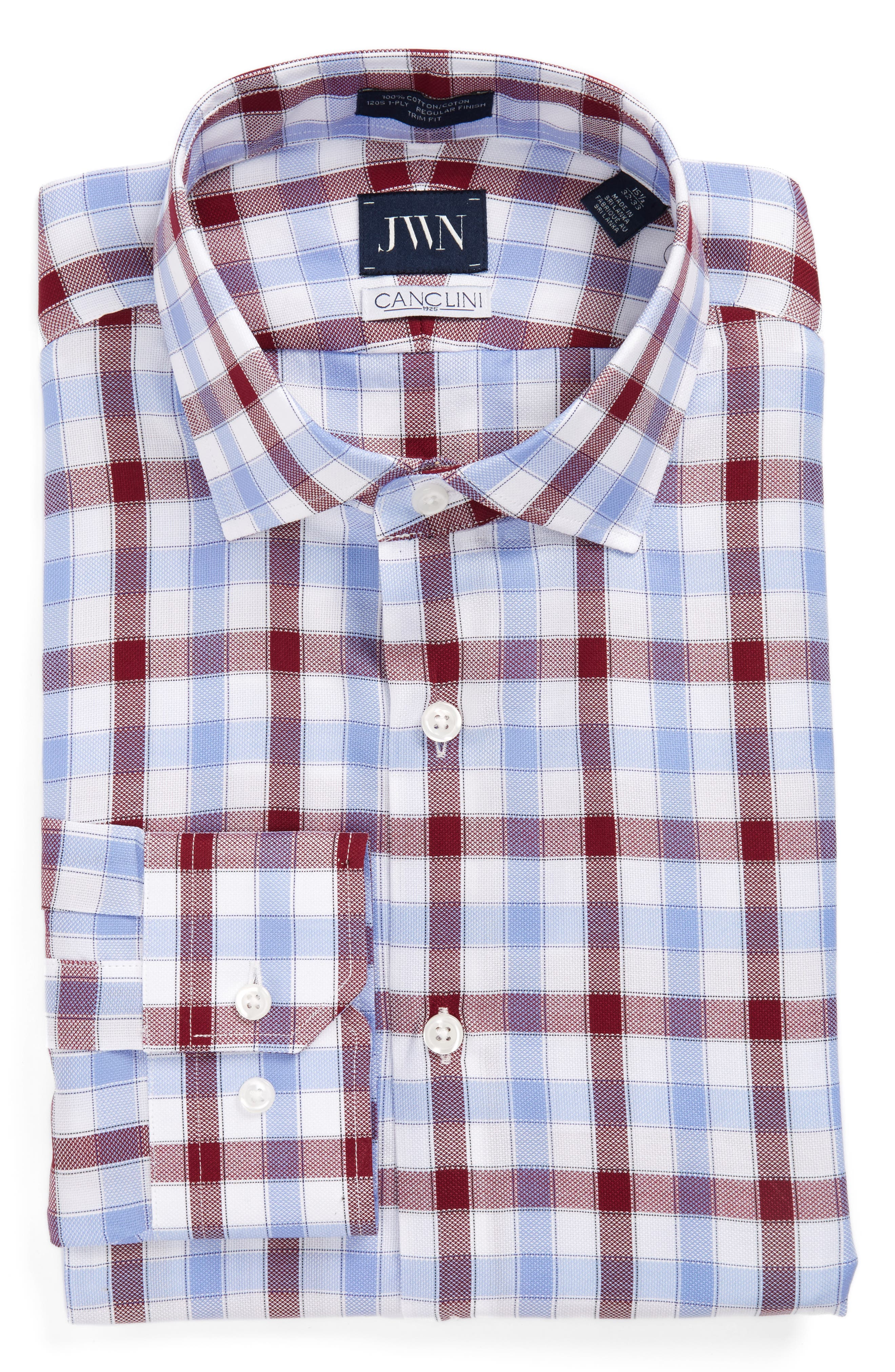 Trim Fit Plaid Dress Shirt,                             Alternate thumbnail 5, color,