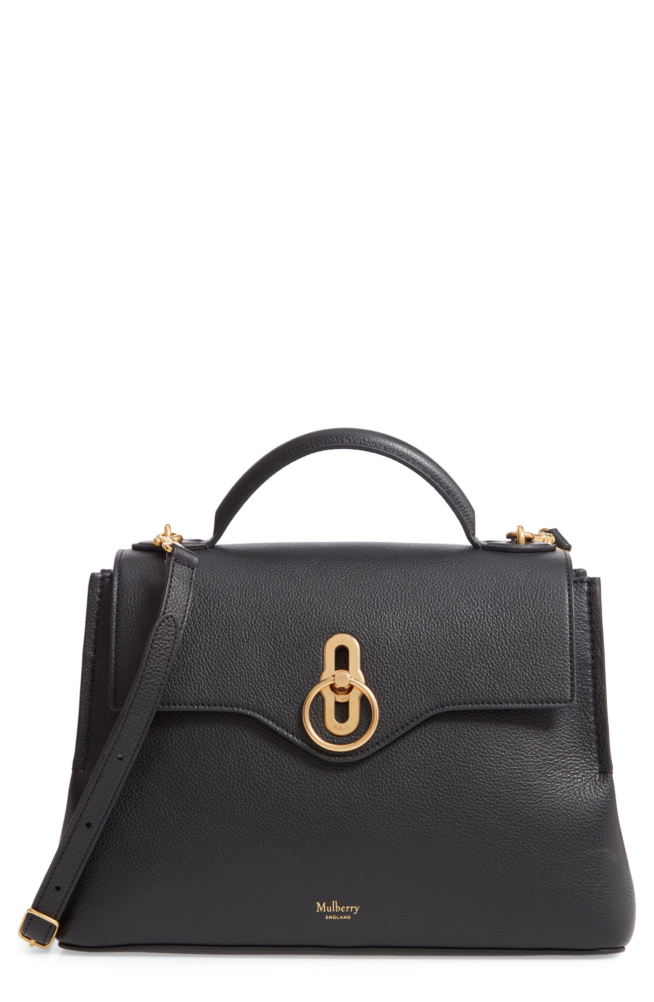 MULBERRY Small Seaton Leather Top Handle Satchel, Main, color, BLACK