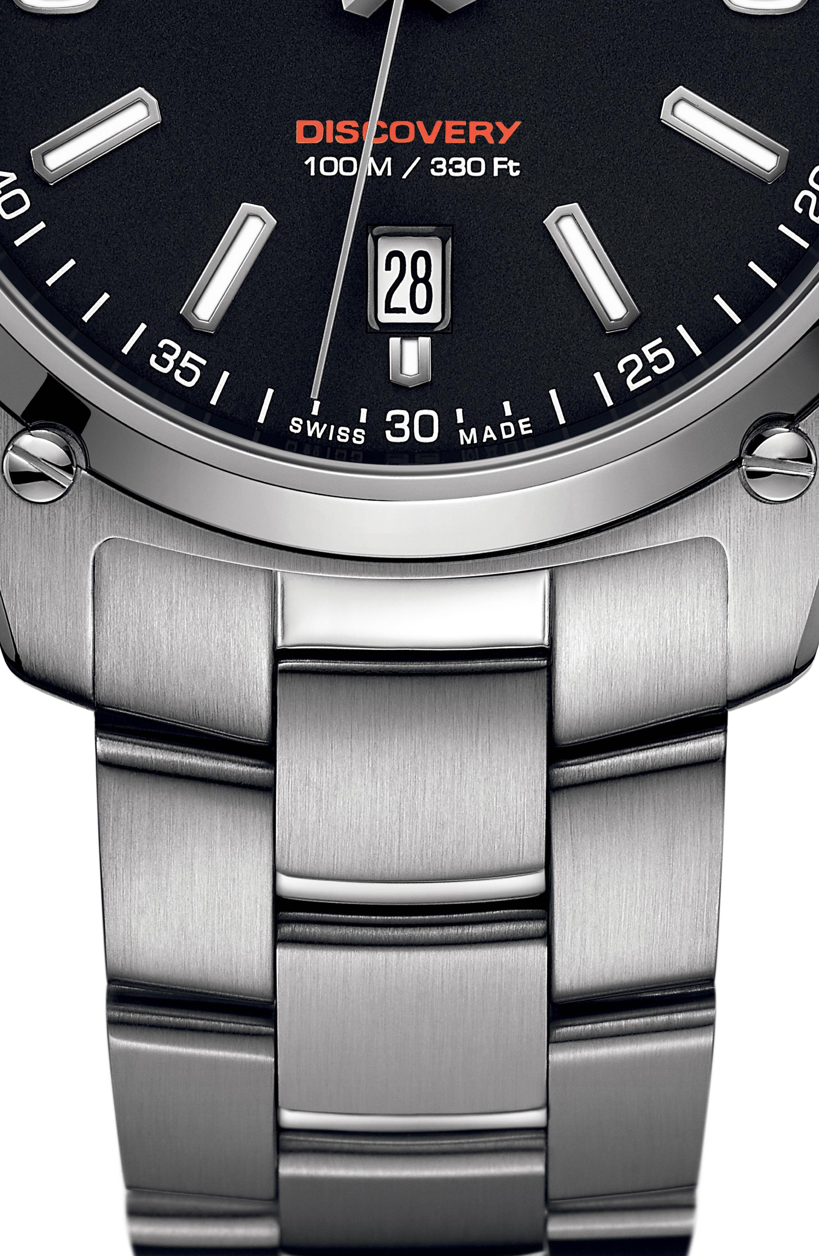 EBEL,                             Discovery Bracelet Watch, 41mm,                             Alternate thumbnail 2, color,                             SILVER/ BLACK/ SILVER