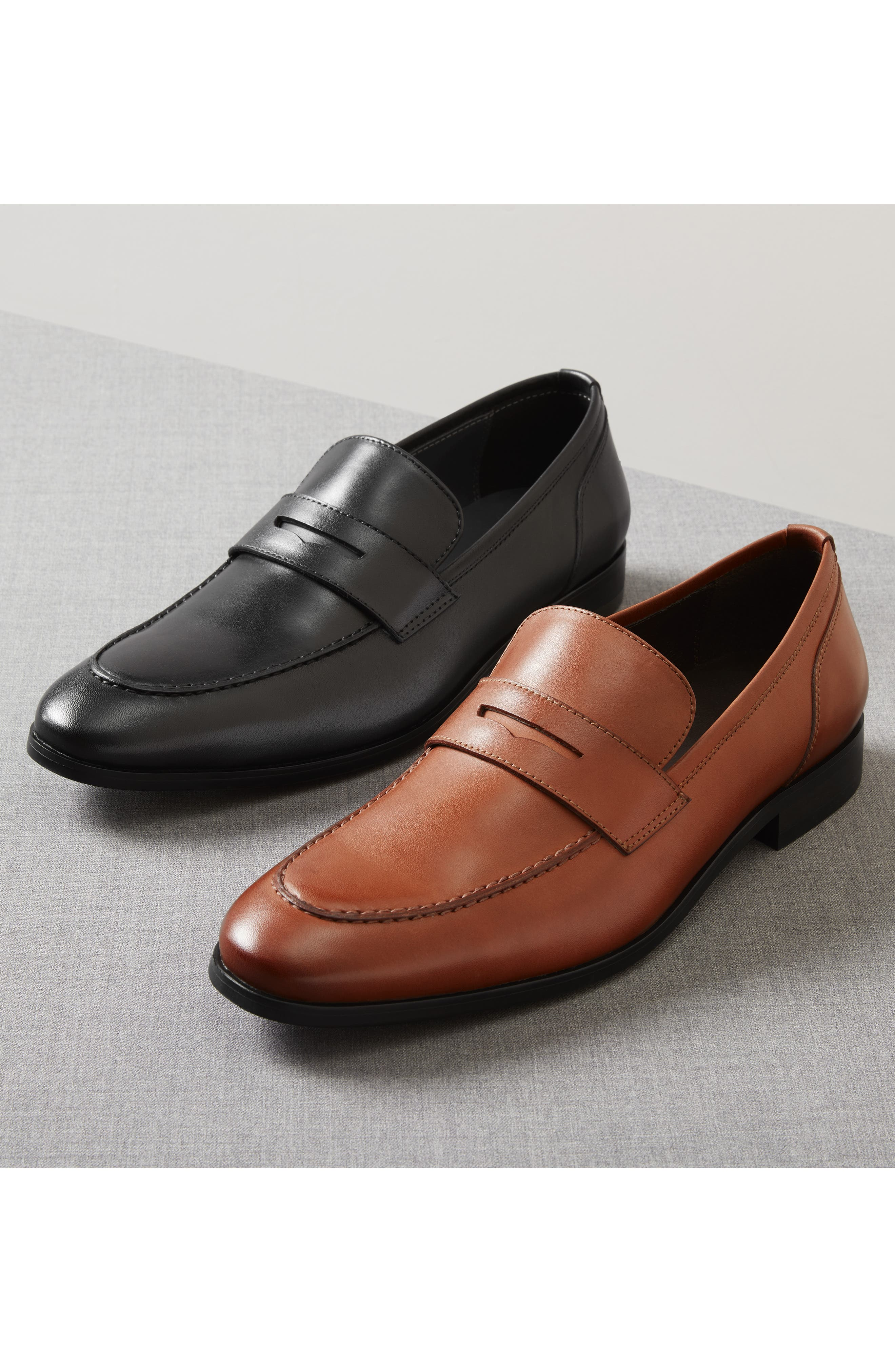 Denio Apron Toe Penny Loafer,                             Alternate thumbnail 7, color,                             BLACK LEATHER