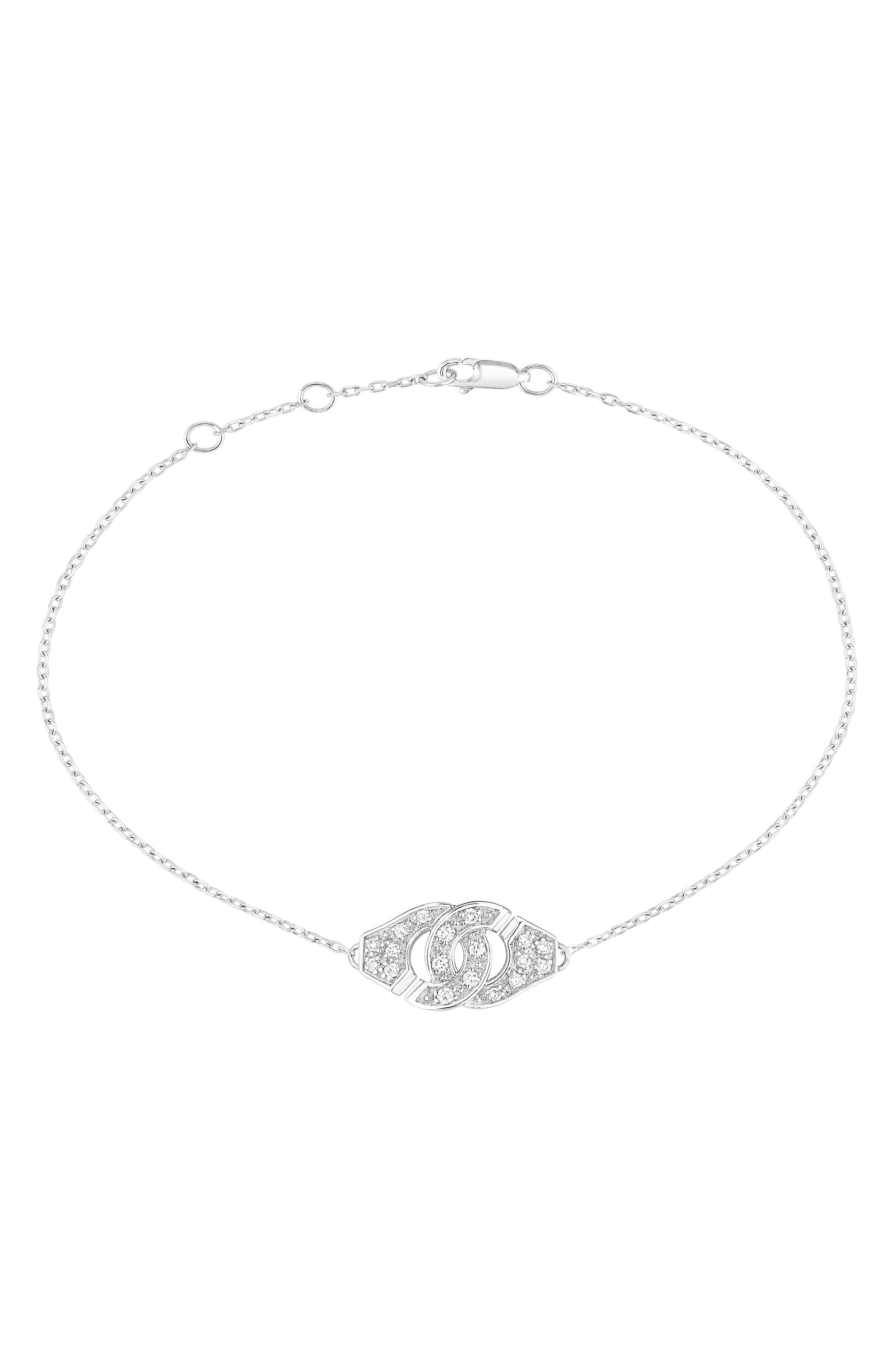 DINH VAN Menottes Diamond Trace Chain Bracelet in White Gold