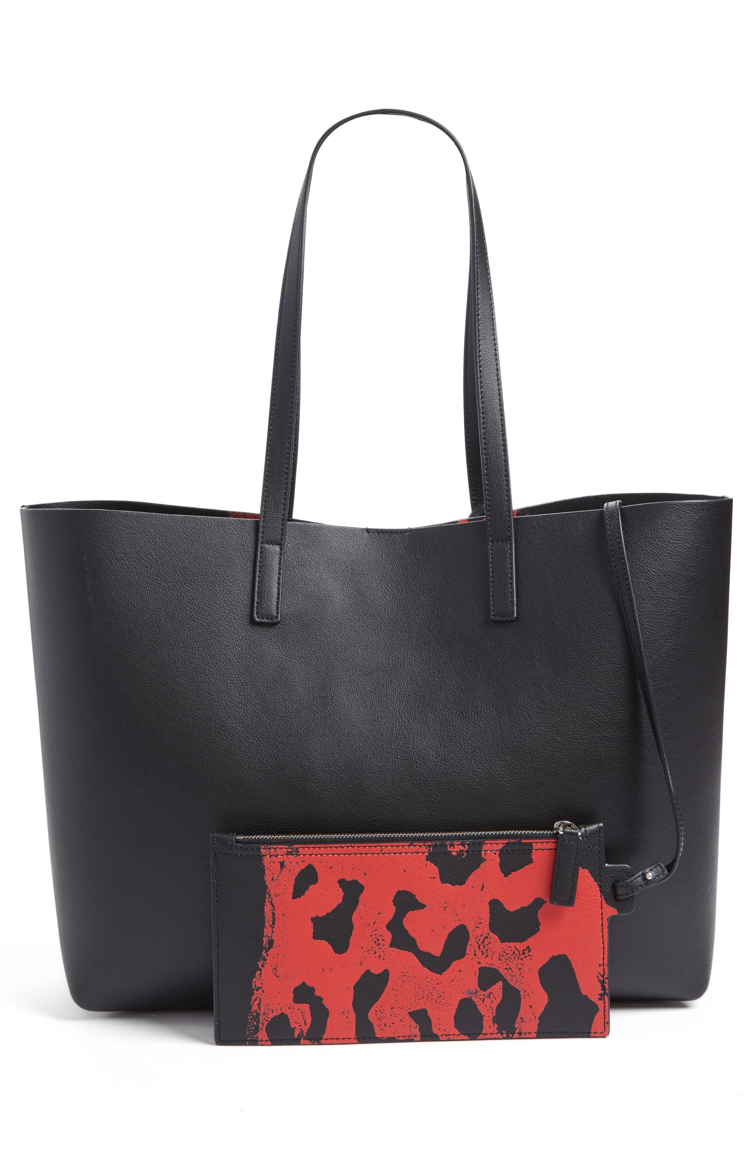 East/West Leather Tote with Leopard Spot Zip Pouch,                             Alternate thumbnail 3, color,                             025