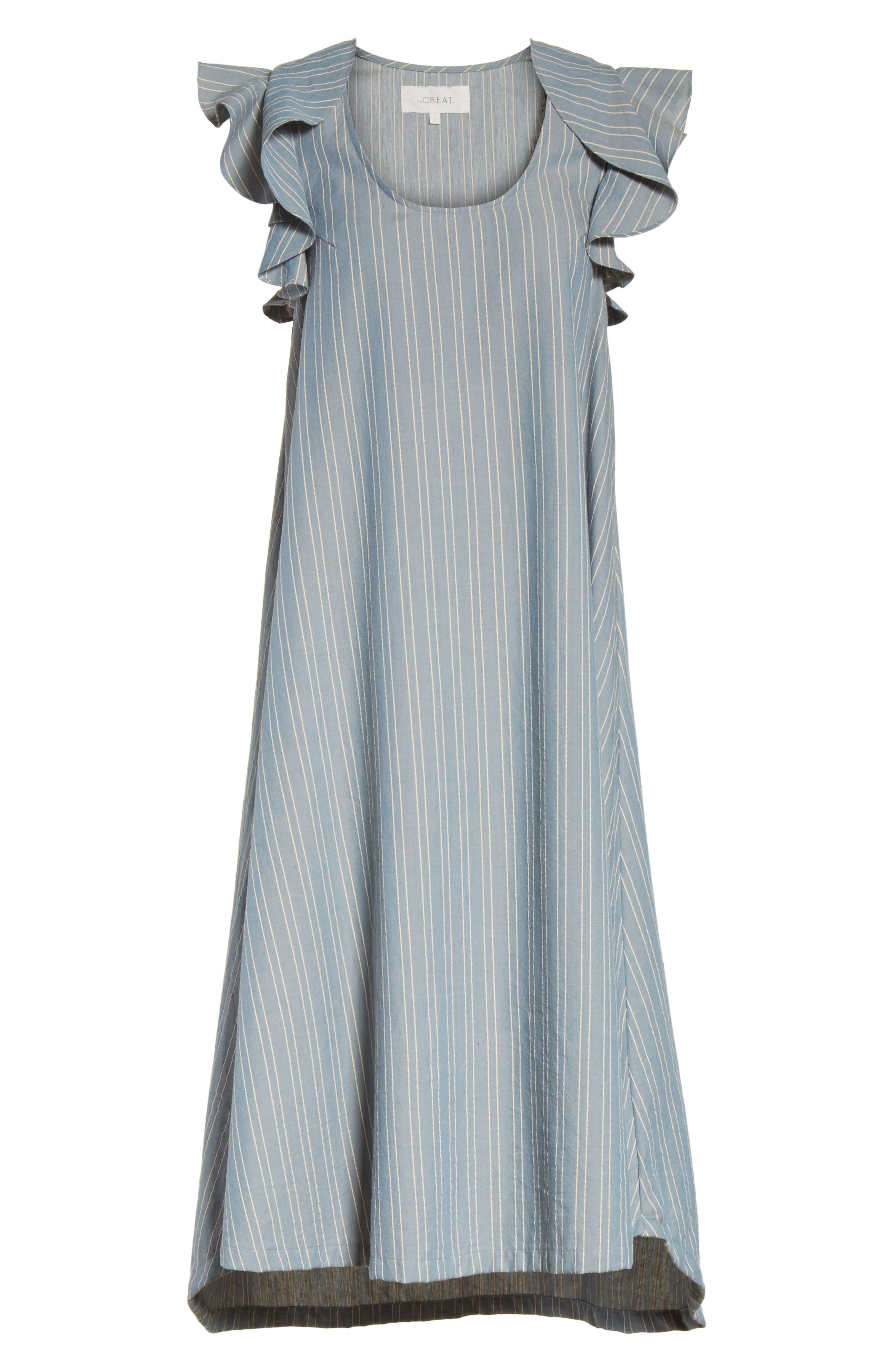 The Petal Stripe Chambray Dress,                             Alternate thumbnail 6, color,                             401