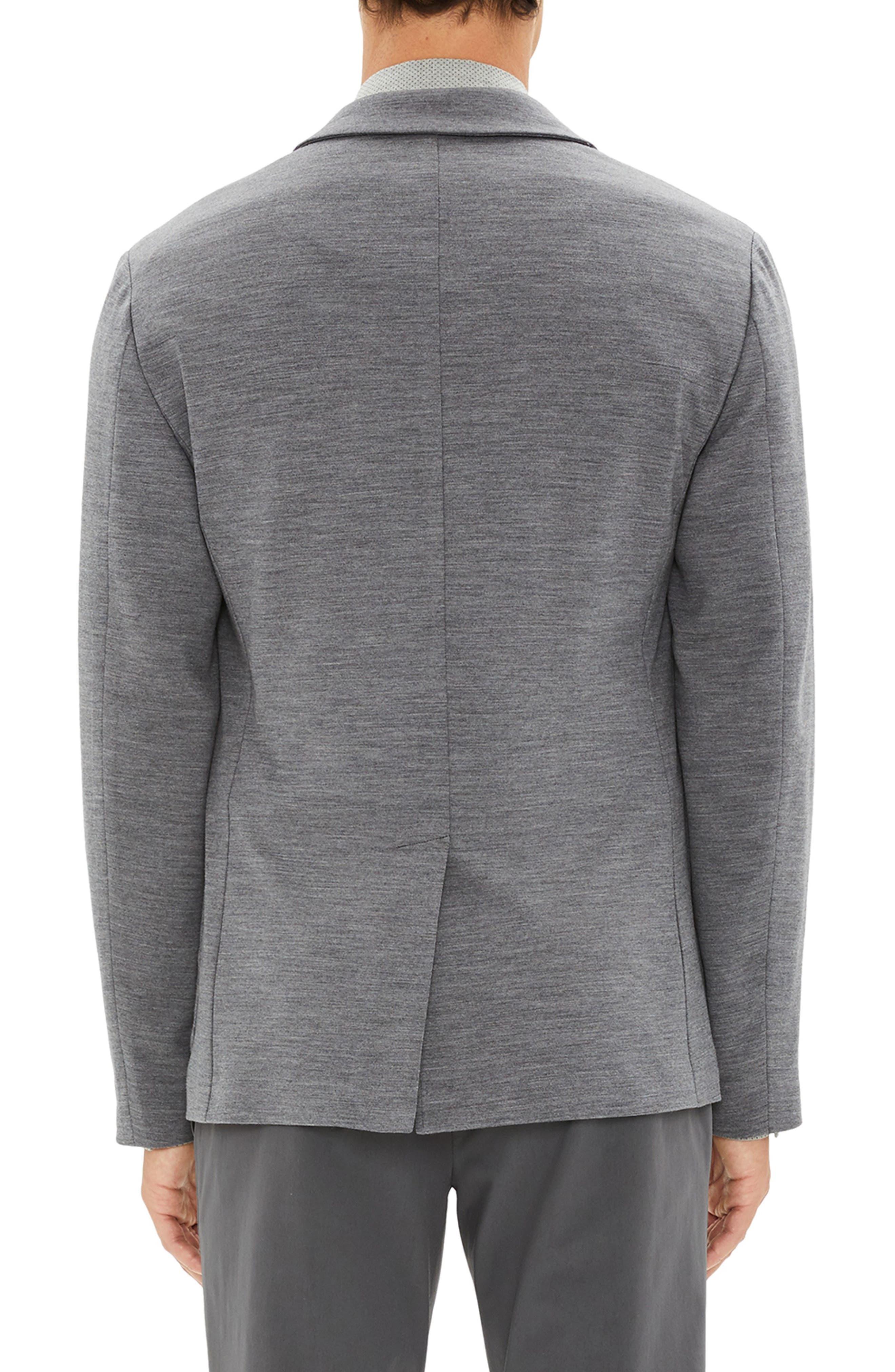 Clinton Wool Interlock Sport Coat,                             Alternate thumbnail 2, color,                             DARK GREY MELANGE