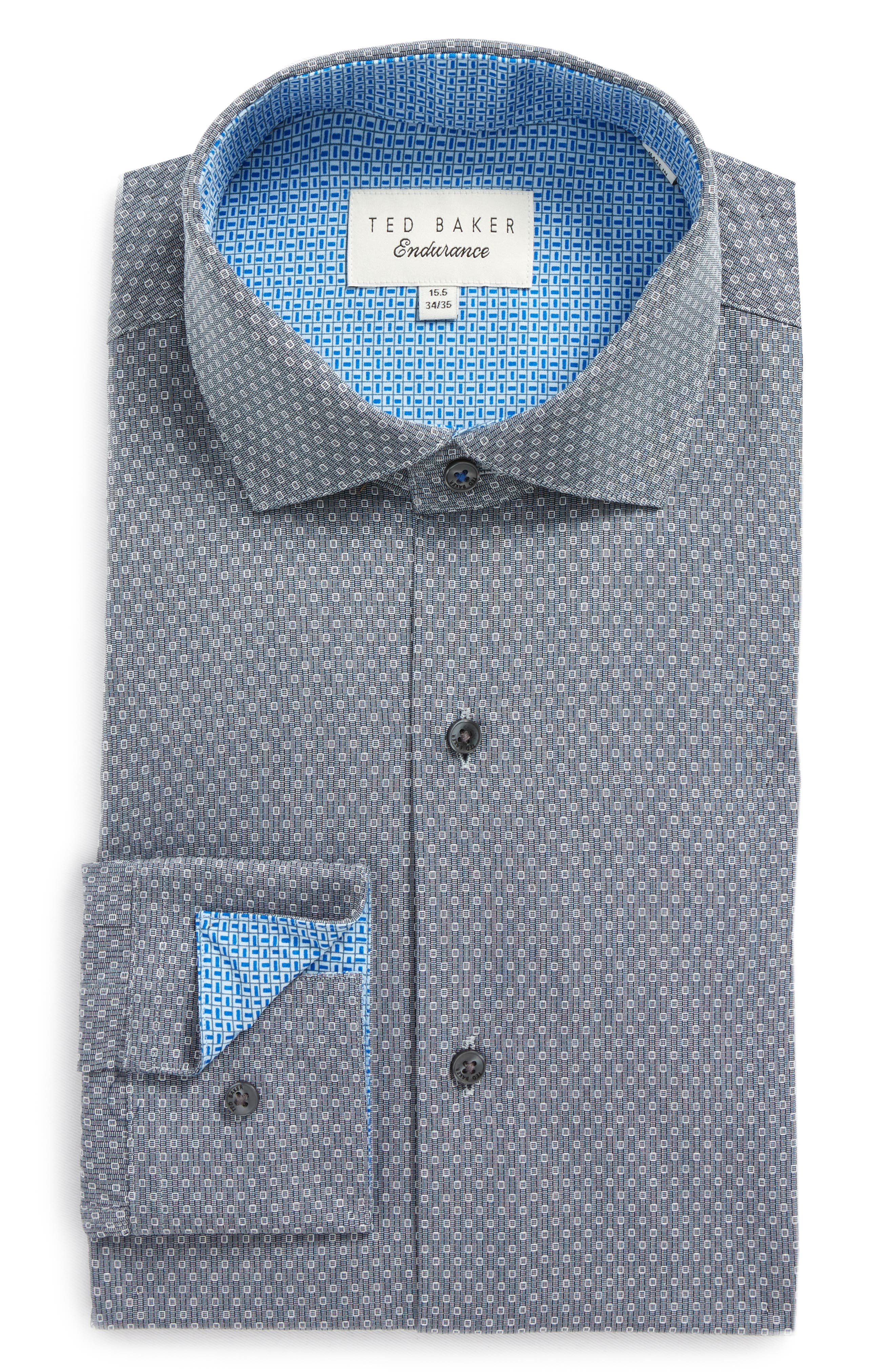 Endurance Oronoco Trim Fit Dress Shirt,                             Main thumbnail 1, color,                             GREY
