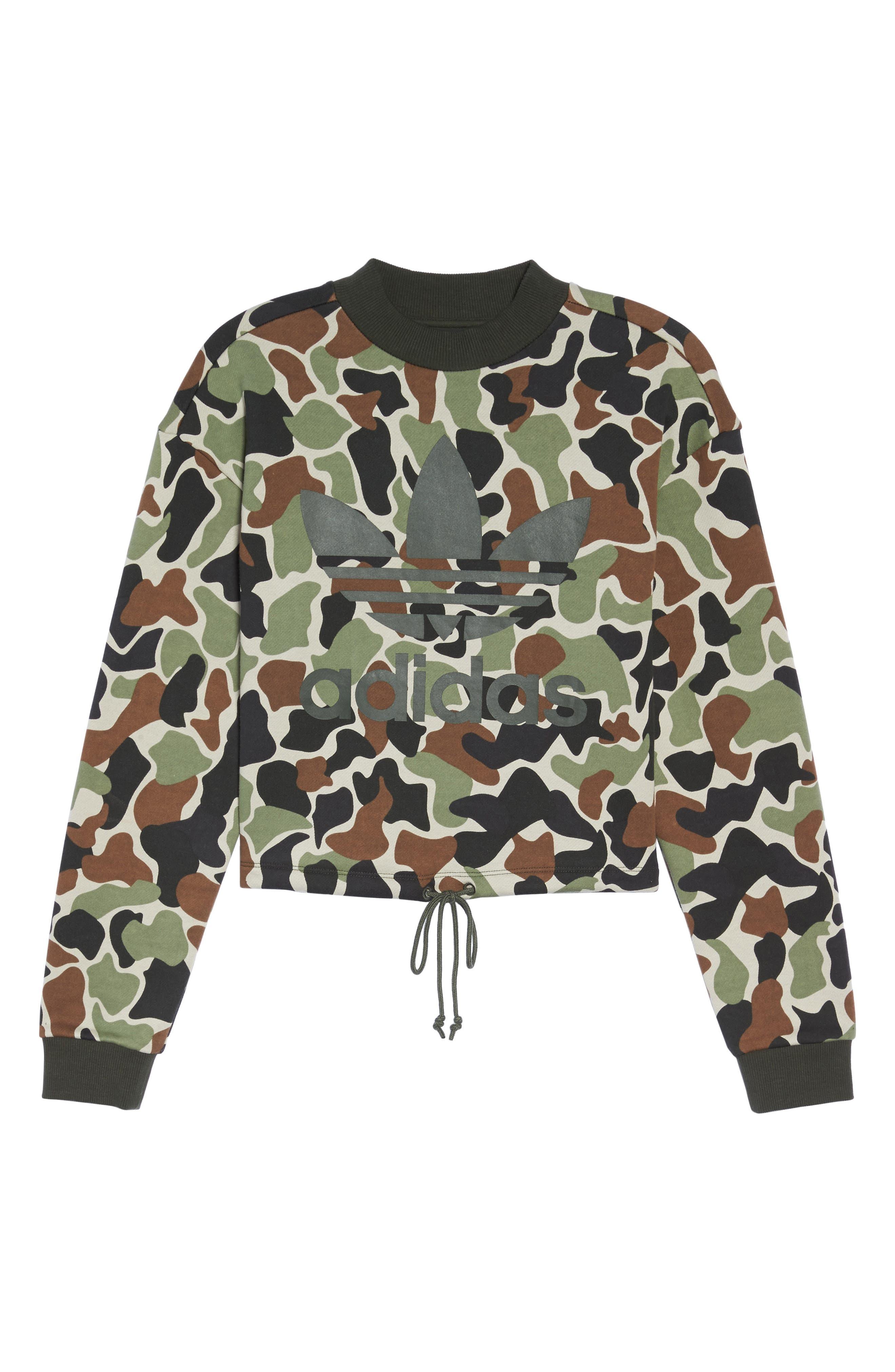 Camo Print Drawstring Crop Sweatshirt,                             Alternate thumbnail 7, color,                             300