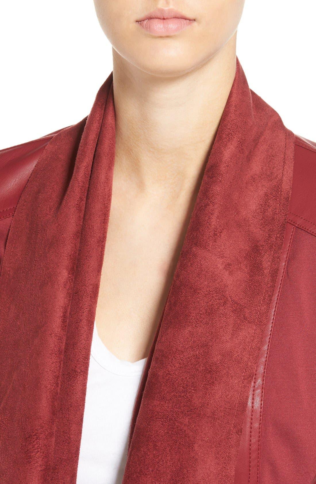 'Ana' Faux Leather Drape Front Jacket,                             Alternate thumbnail 13, color,