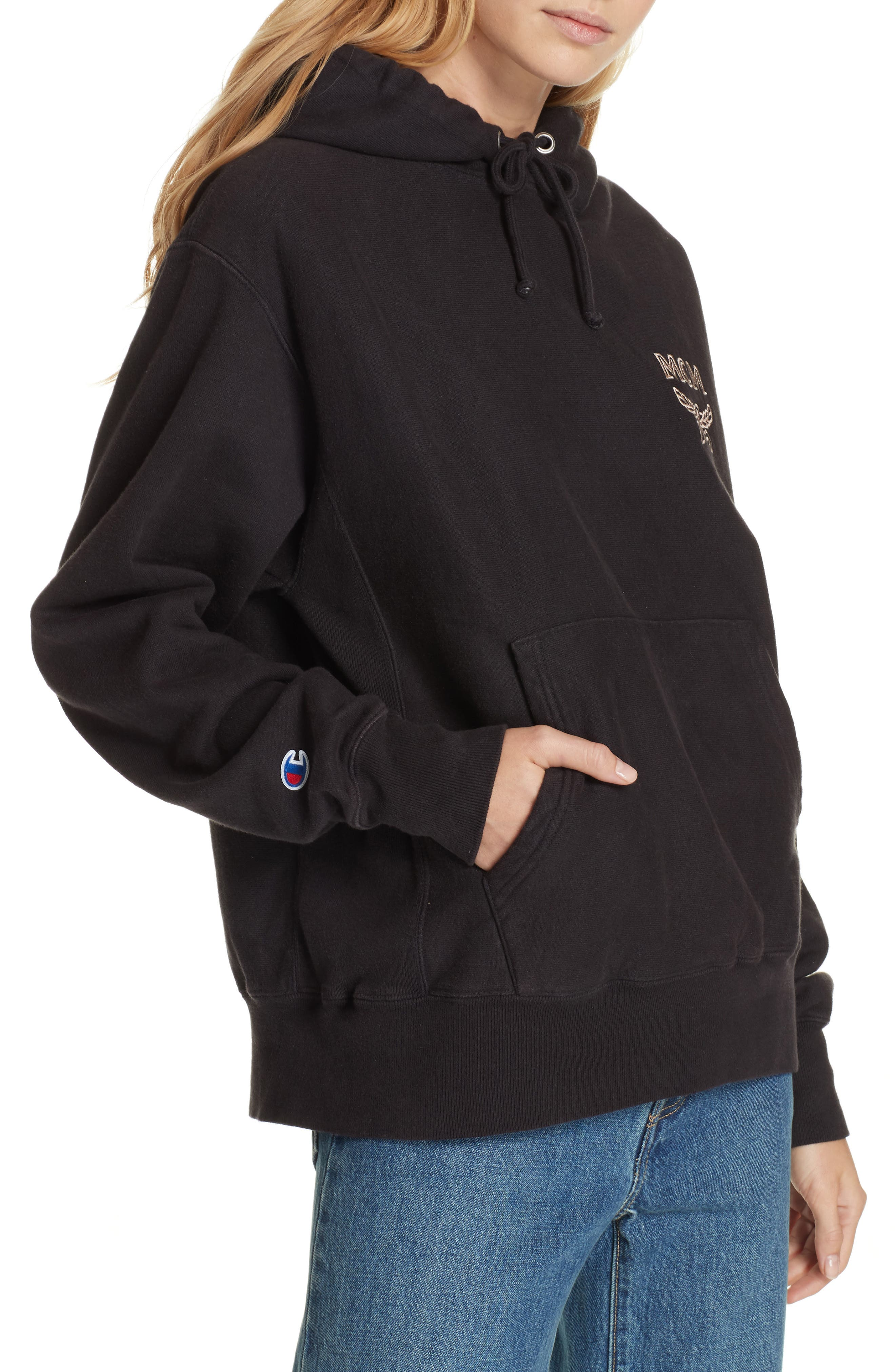 x MCM Pullover Hoodie,                             Alternate thumbnail 5, color,                             001