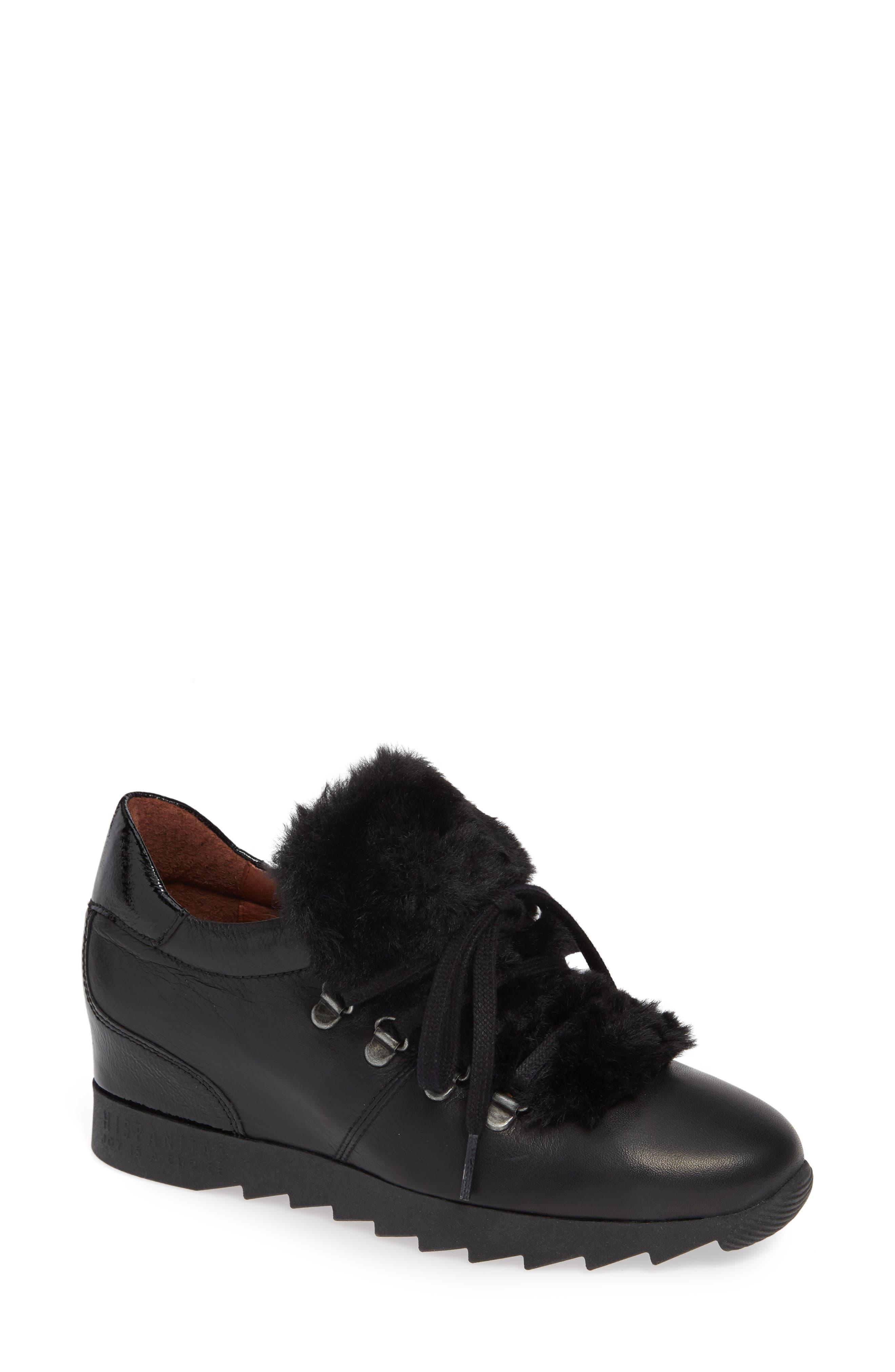 Sadara Wedge Sneaker,                         Main,                         color, SOHO BLACK FAUX FUR