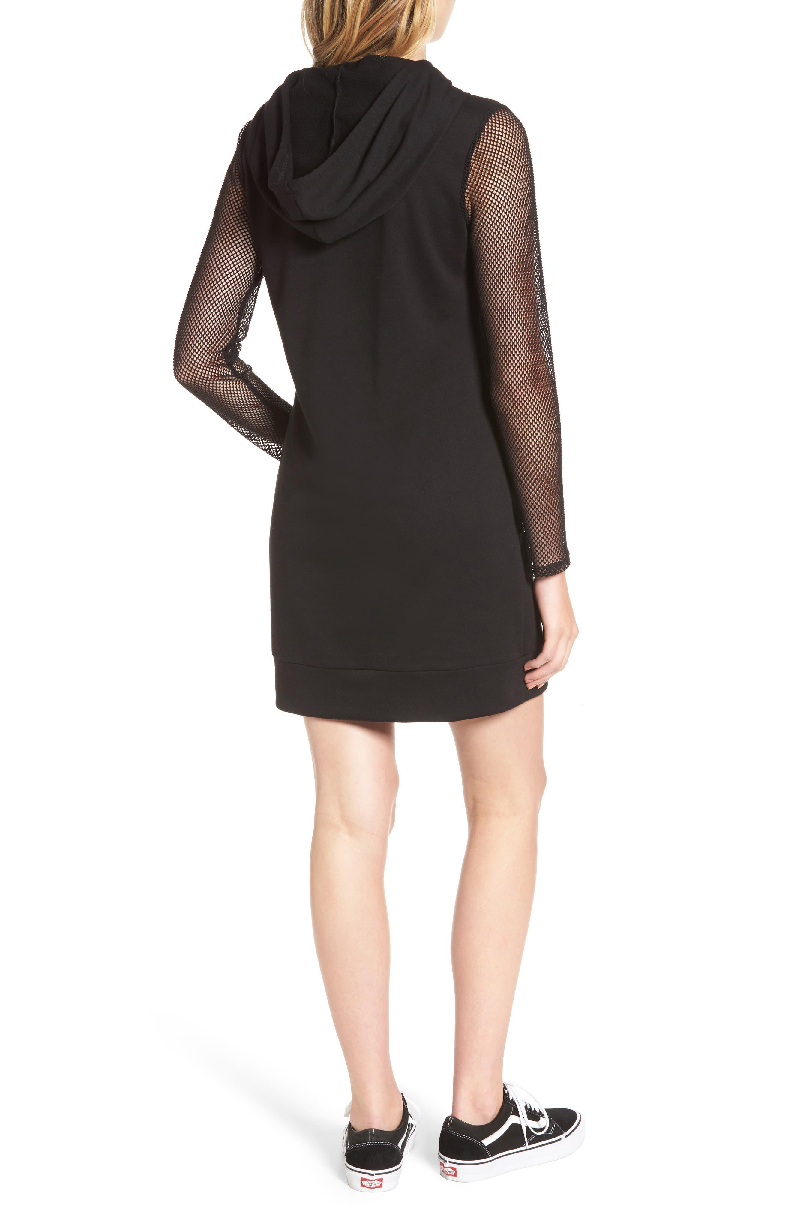 Mesh Sleeve Hoodie Dress,                             Alternate thumbnail 2, color,                             001