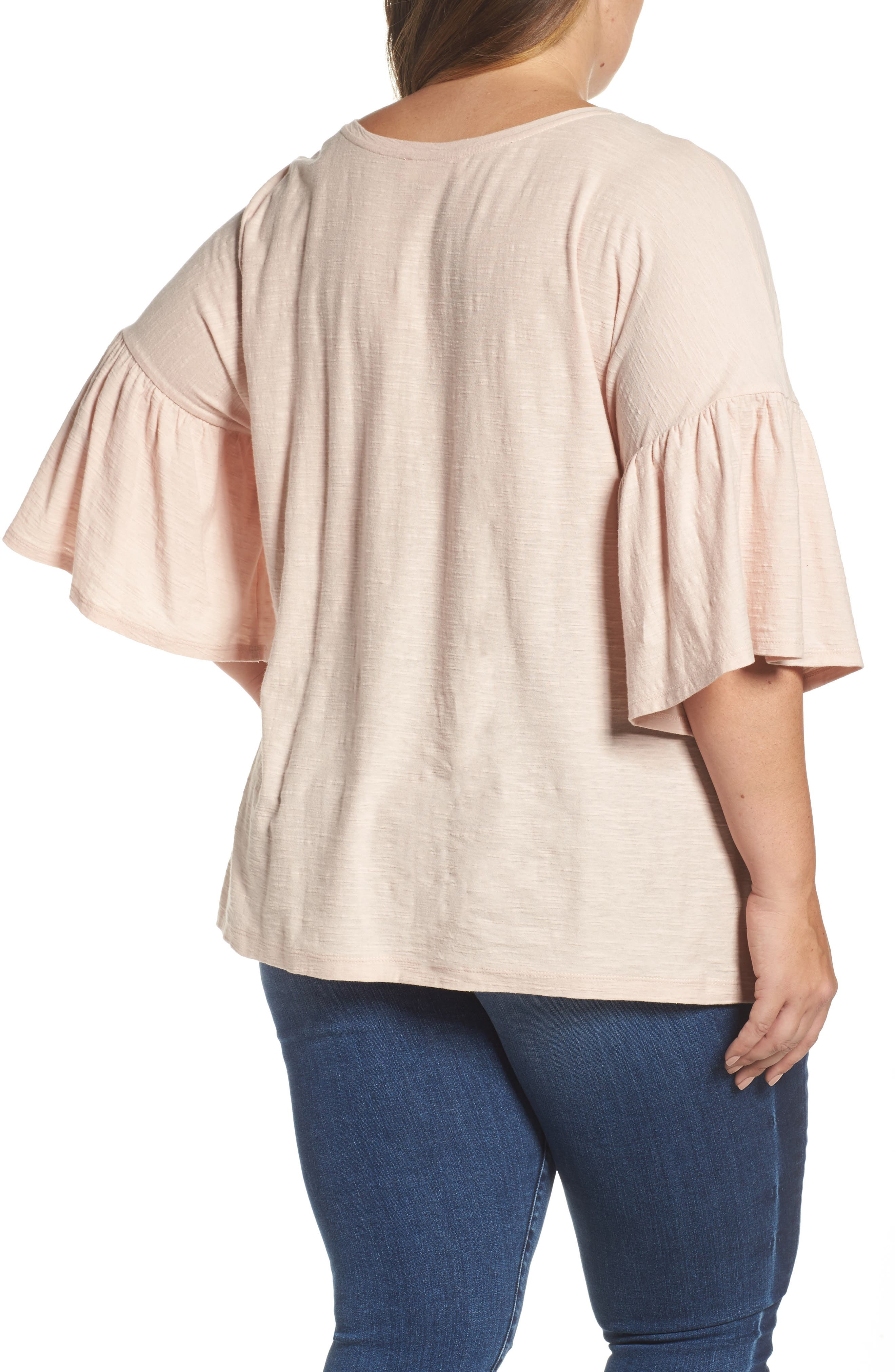 Vince Camuto Relaxed Bell Sleeve Cotton Tee,                             Alternate thumbnail 2, color,                             651