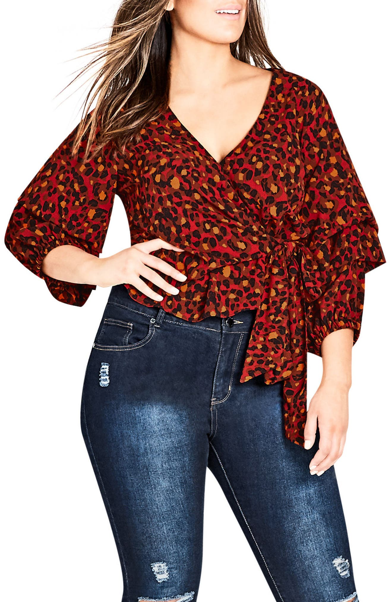 Wild Animal Faux Wrap Top,                             Main thumbnail 1, color,                             805