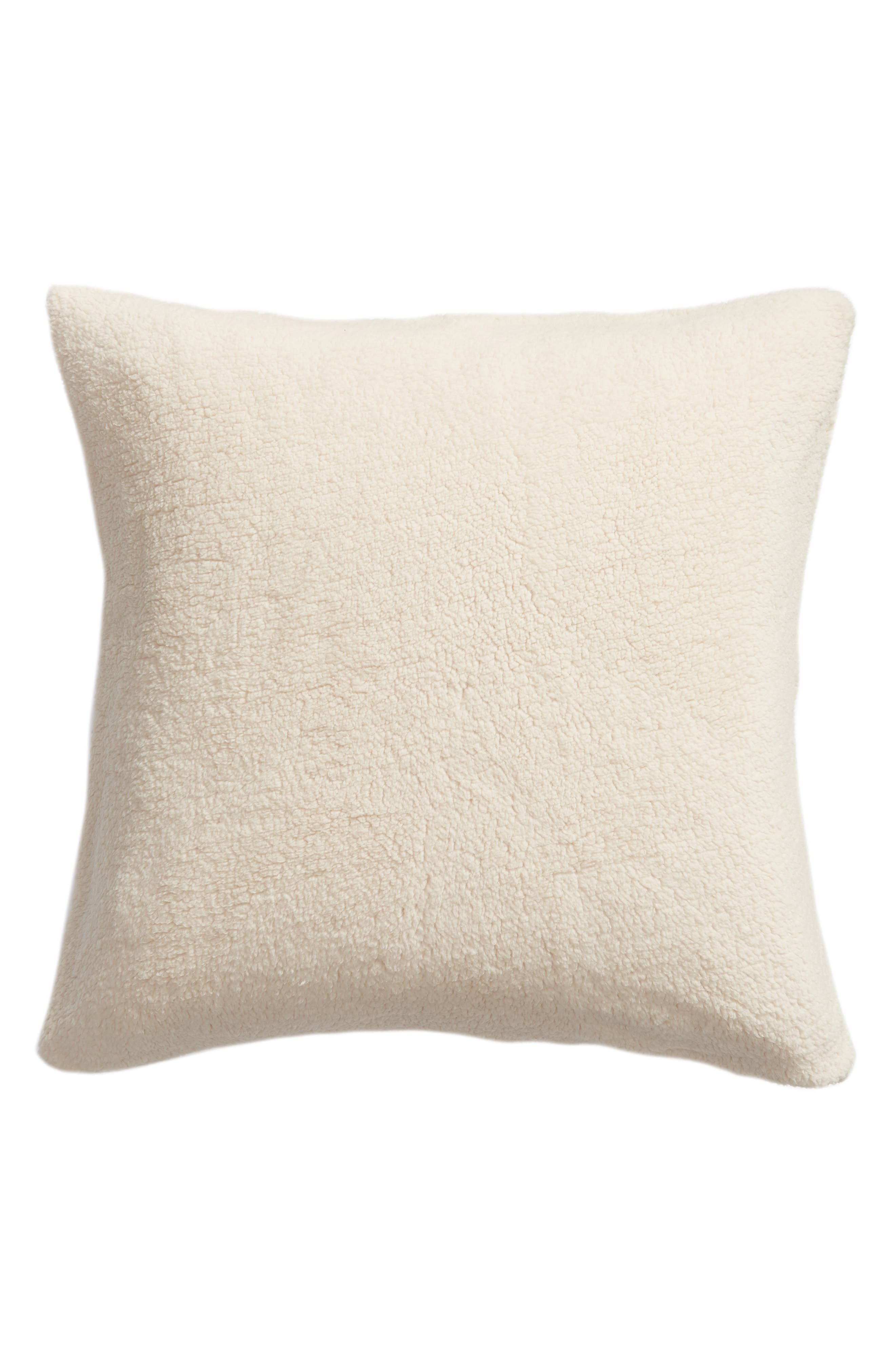 NORDSTROM AT HOME,                             Faux Shearling Accent Pillow,                             Main thumbnail 1, color,                             BEIGE OATMEAL