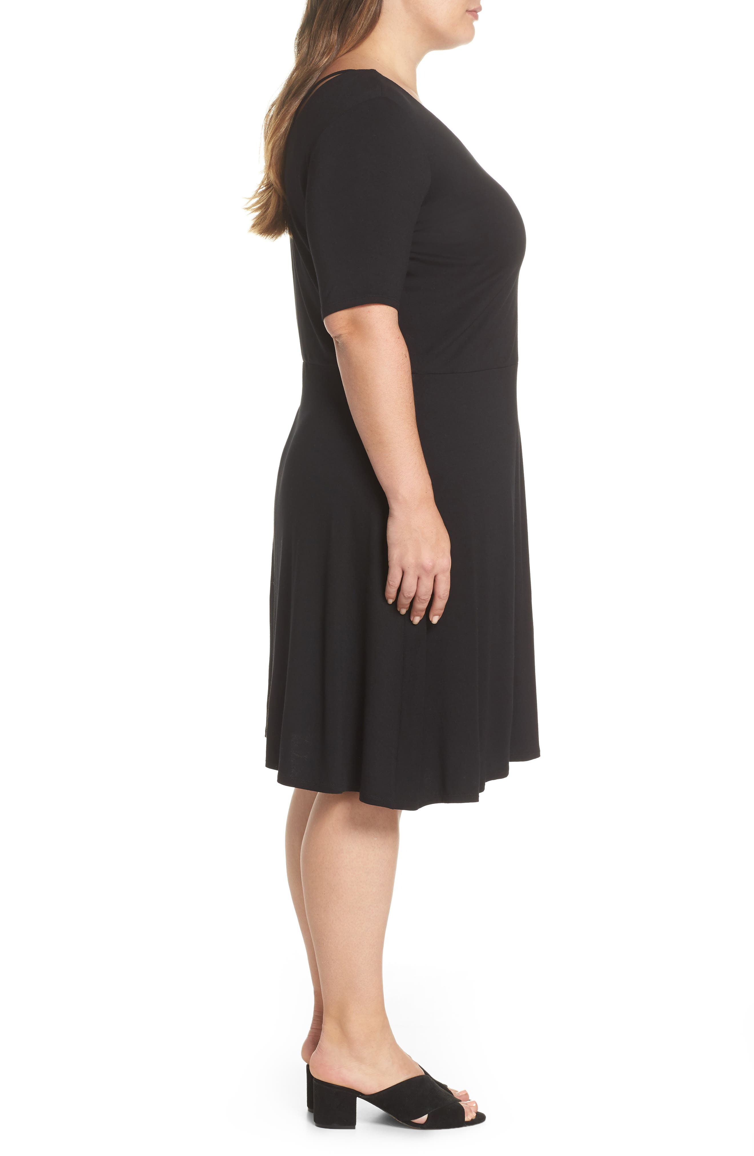 Cross Back Jersey A-Line Dress,                             Alternate thumbnail 3, color,                             010